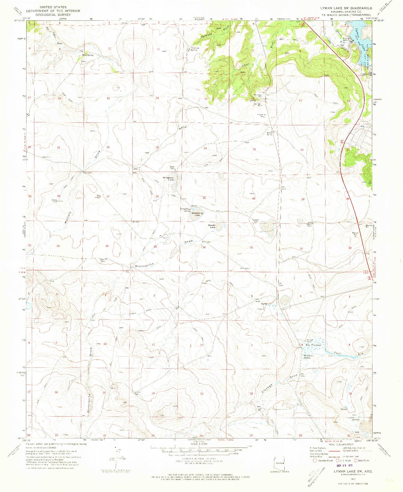 USGS 1:24000-SCALE QUADRANGLE FOR LYMAN LAKE SW, AZ 1971