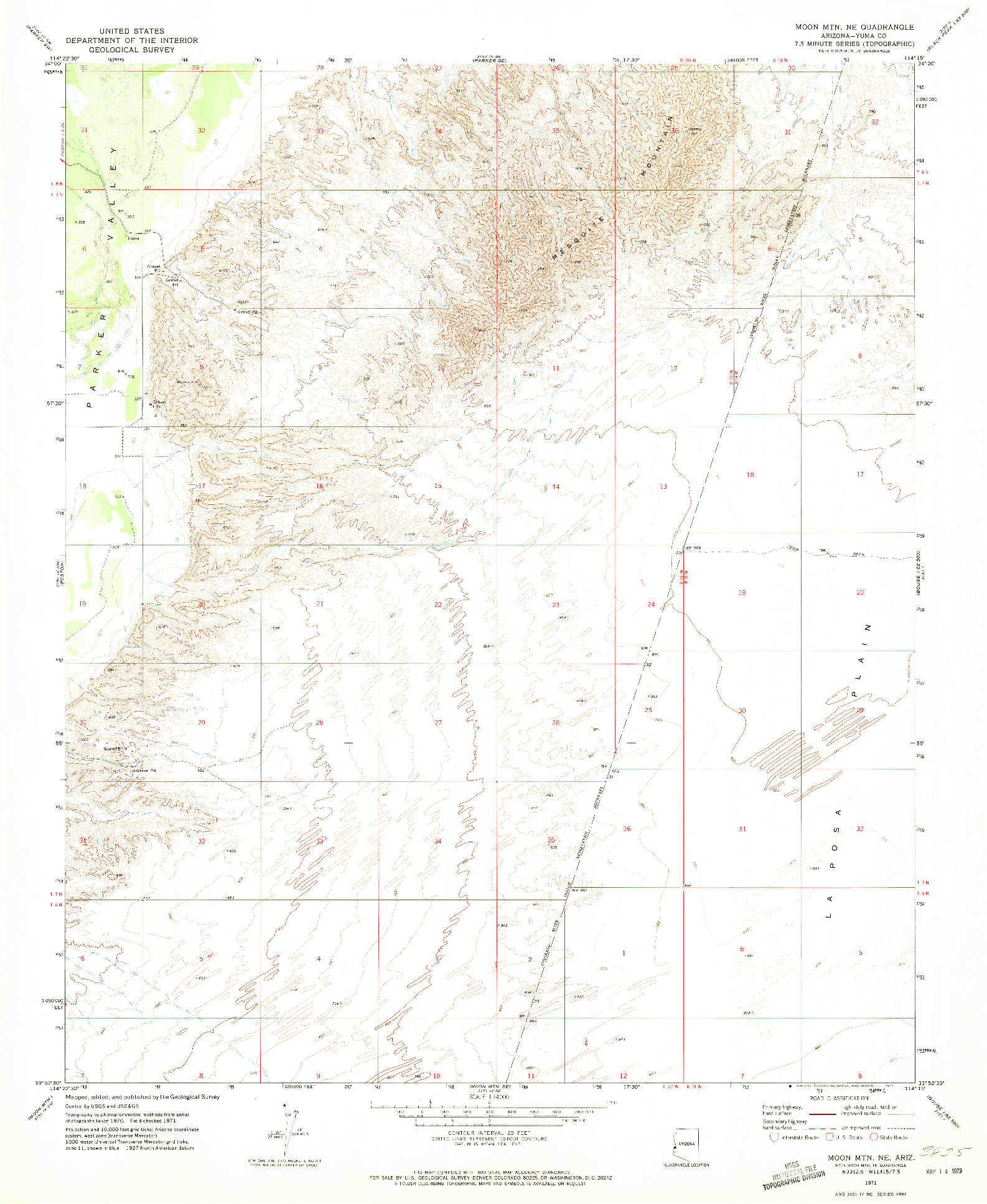 USGS 1:24000-SCALE QUADRANGLE FOR MOON MTN NE, AZ 1971