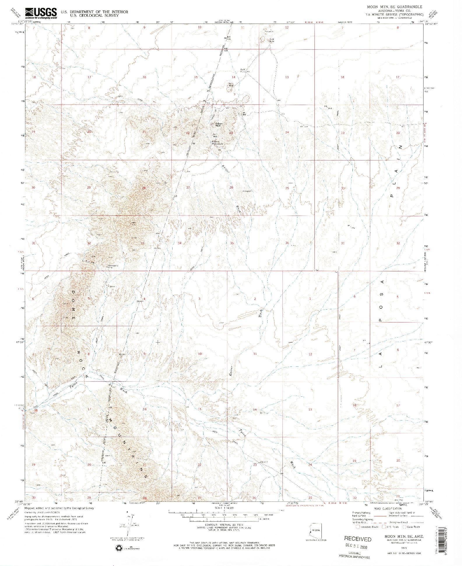 USGS 1:24000-SCALE QUADRANGLE FOR MOON MTN SE, AZ 1971