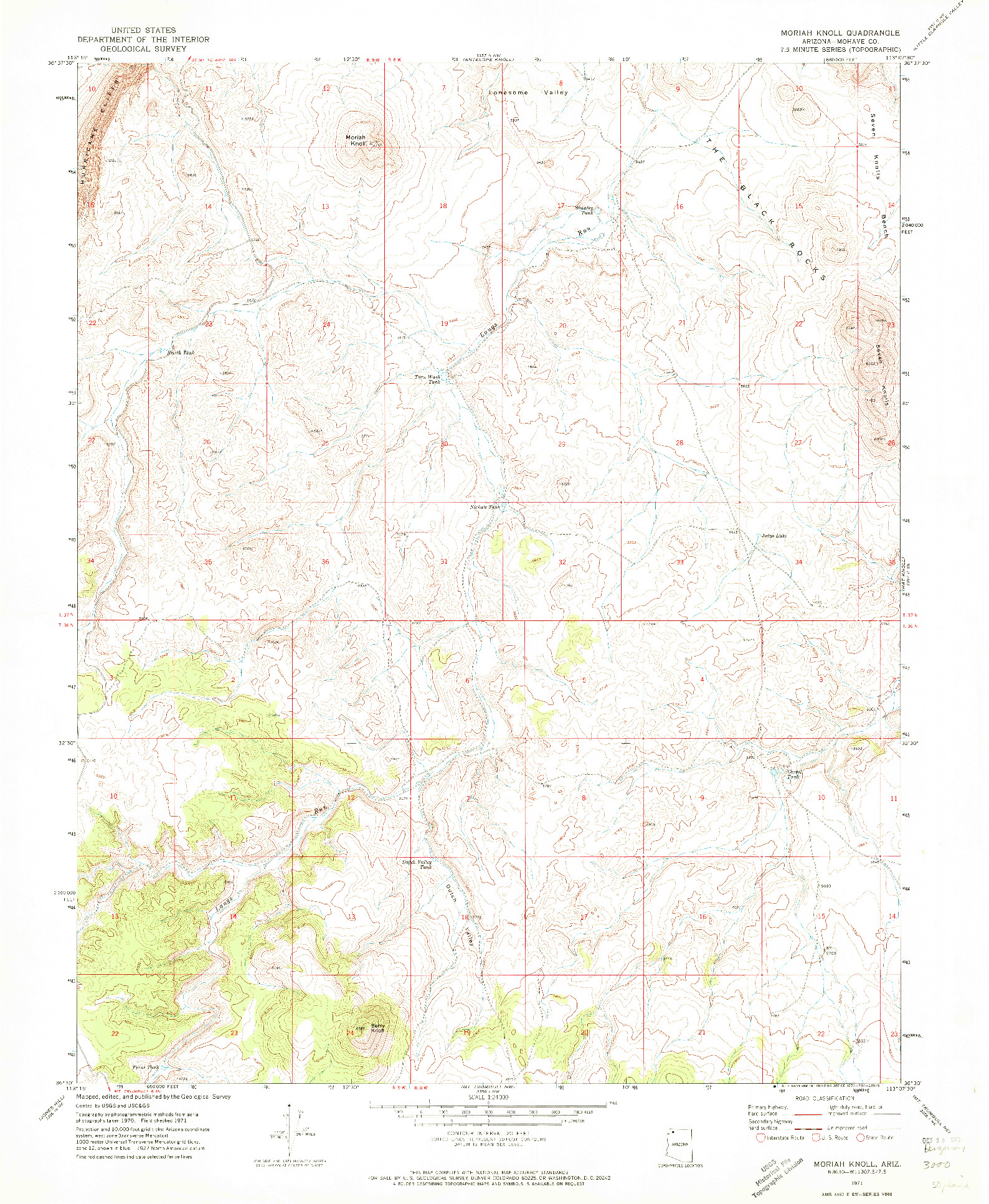 USGS 1:24000-SCALE QUADRANGLE FOR MORIAH KNOLL, AZ 1971