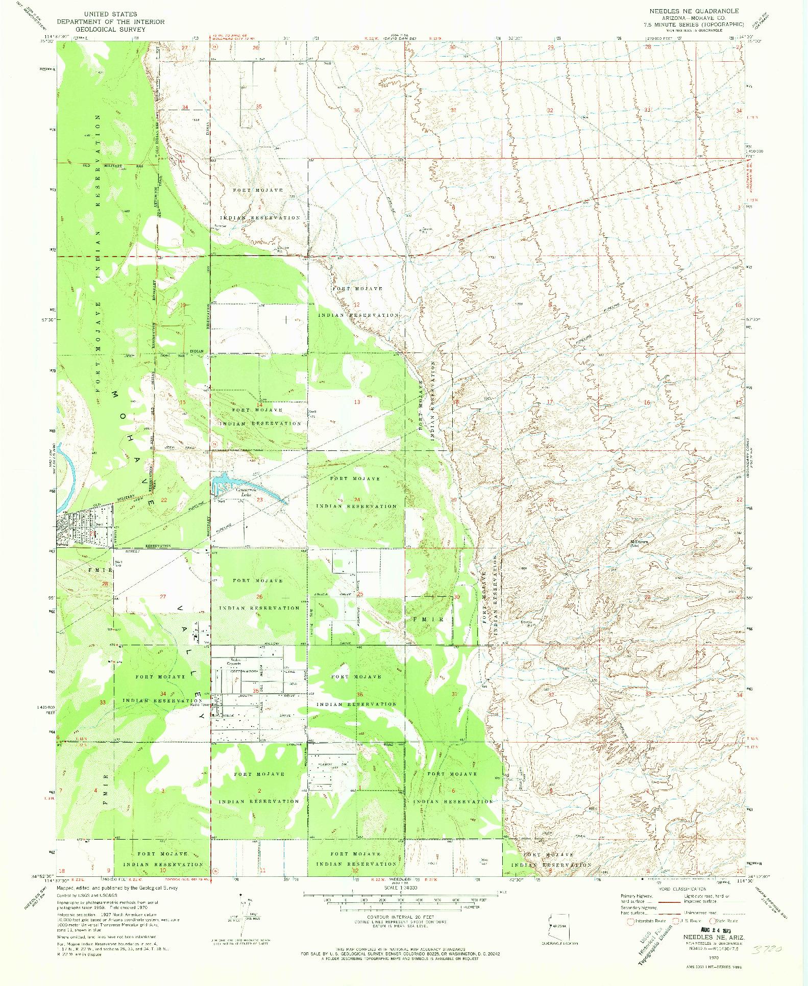 USGS 1:24000-SCALE QUADRANGLE FOR NEEDLES NE, AZ 1970