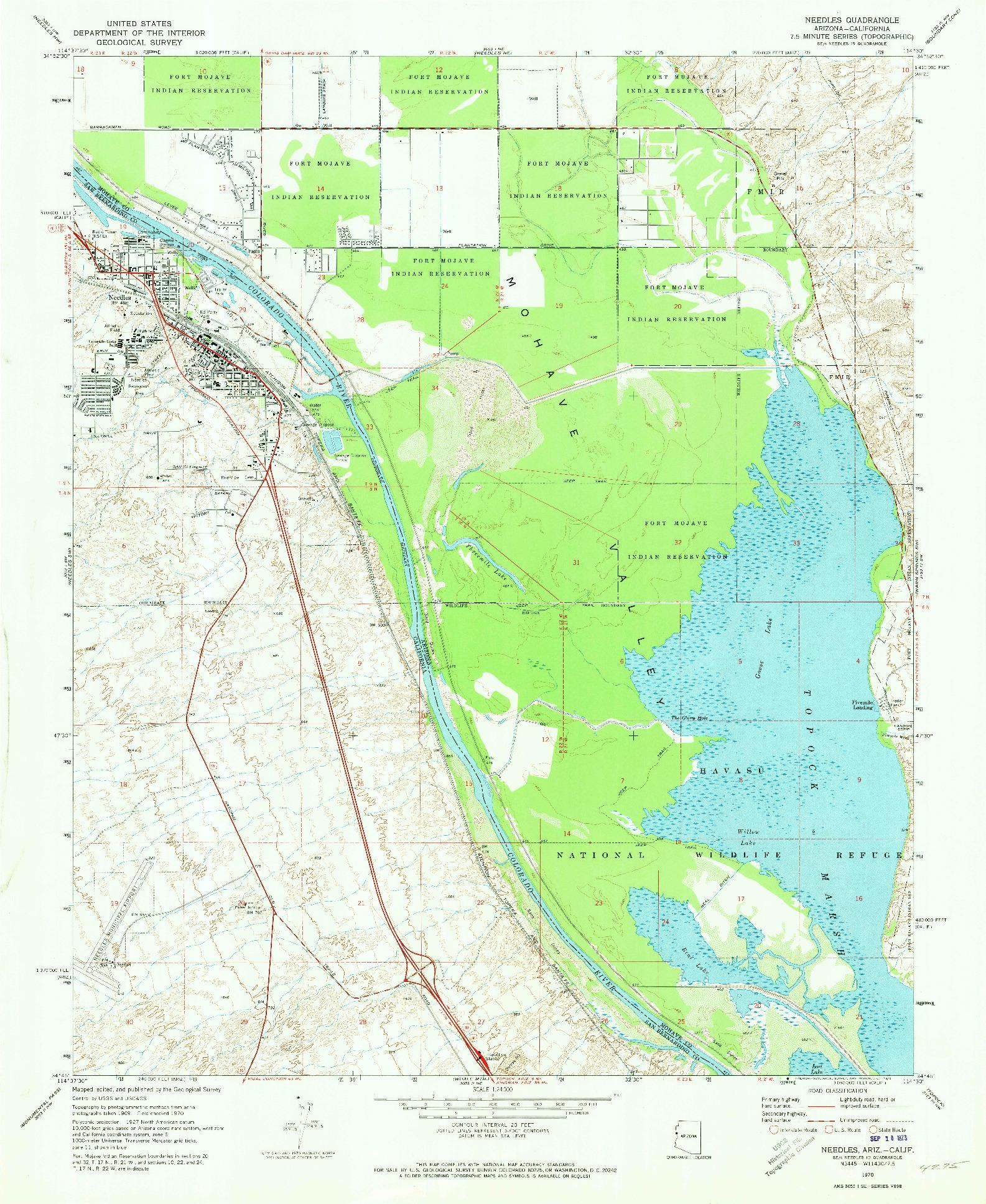 USGS 1:24000-SCALE QUADRANGLE FOR NEEDLES, AZ 1970