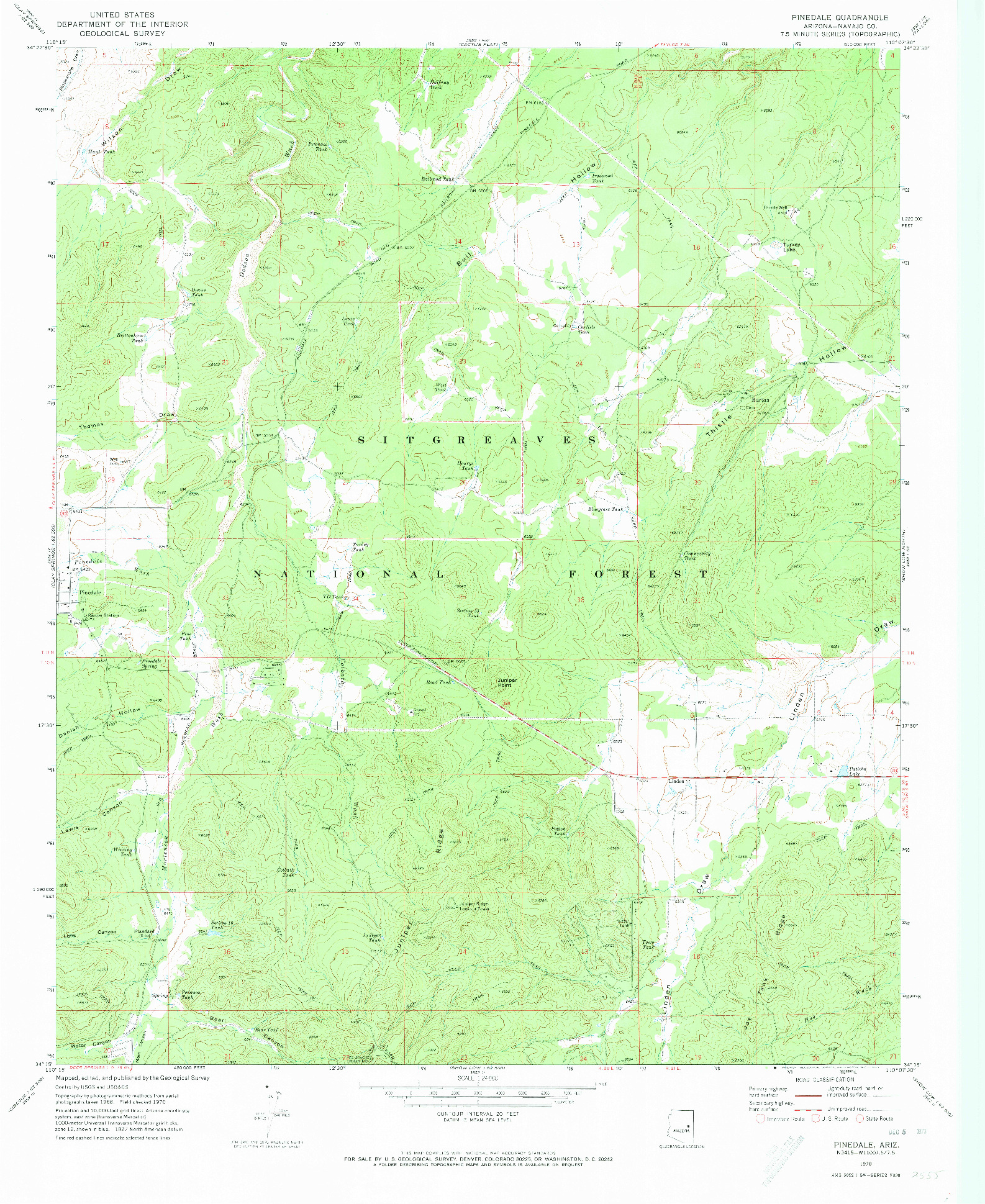 USGS 1:24000-SCALE QUADRANGLE FOR PINEDALE, AZ 1970