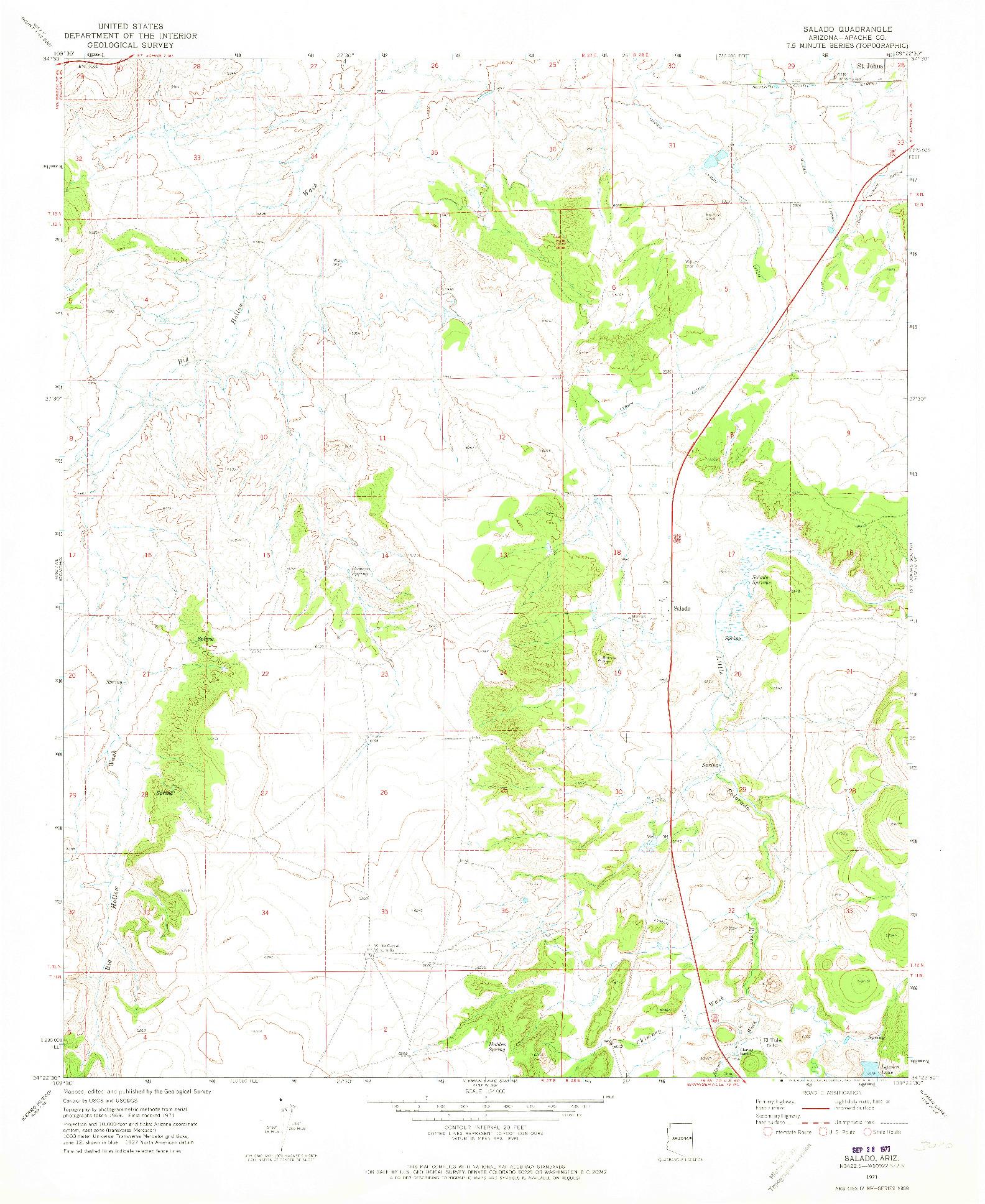 USGS 1:24000-SCALE QUADRANGLE FOR SALADO, AZ 1971