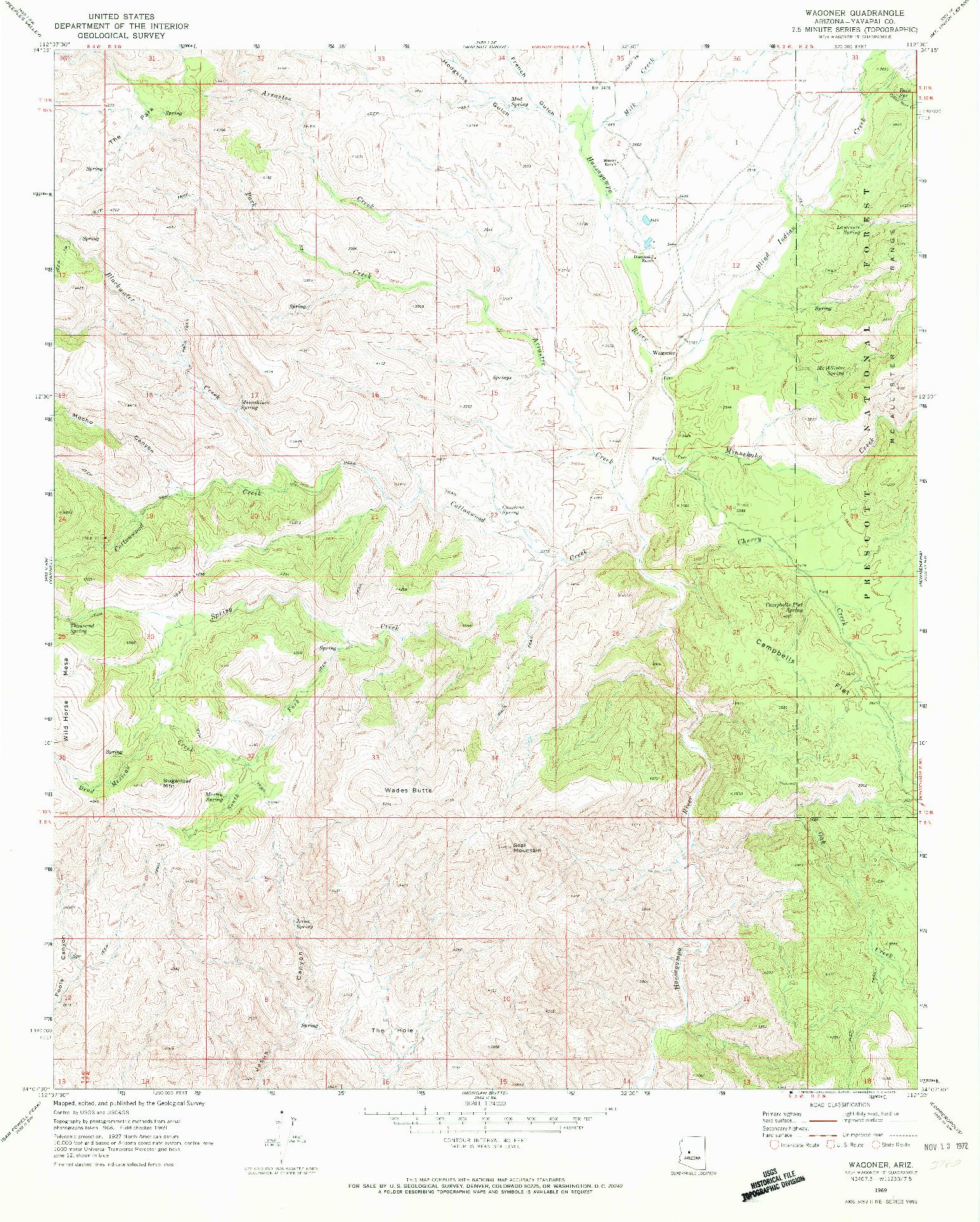 USGS 1:24000-SCALE QUADRANGLE FOR WAGONER, AZ 1969