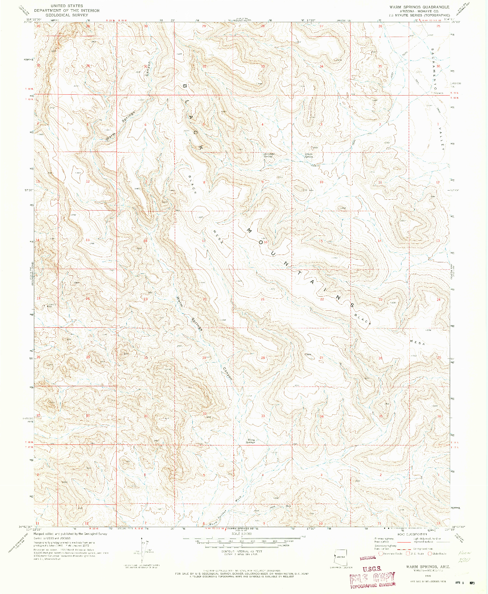 USGS 1:24000-SCALE QUADRANGLE FOR WARM SPRINGS, AZ 1970