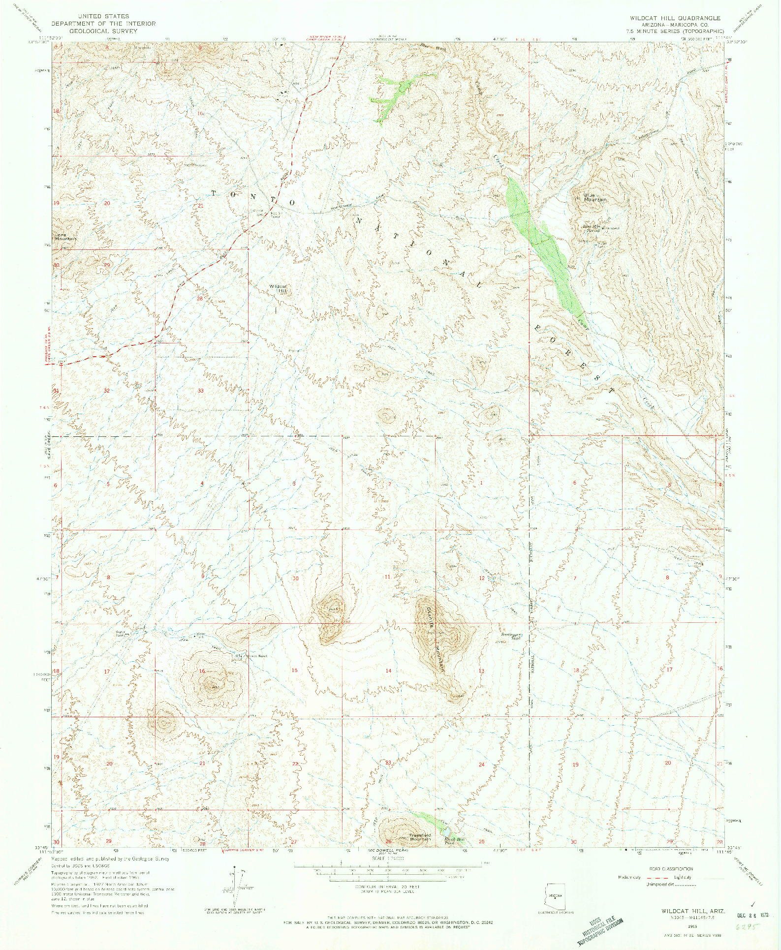USGS 1:24000-SCALE QUADRANGLE FOR WILDCAT HILL, AZ 1965