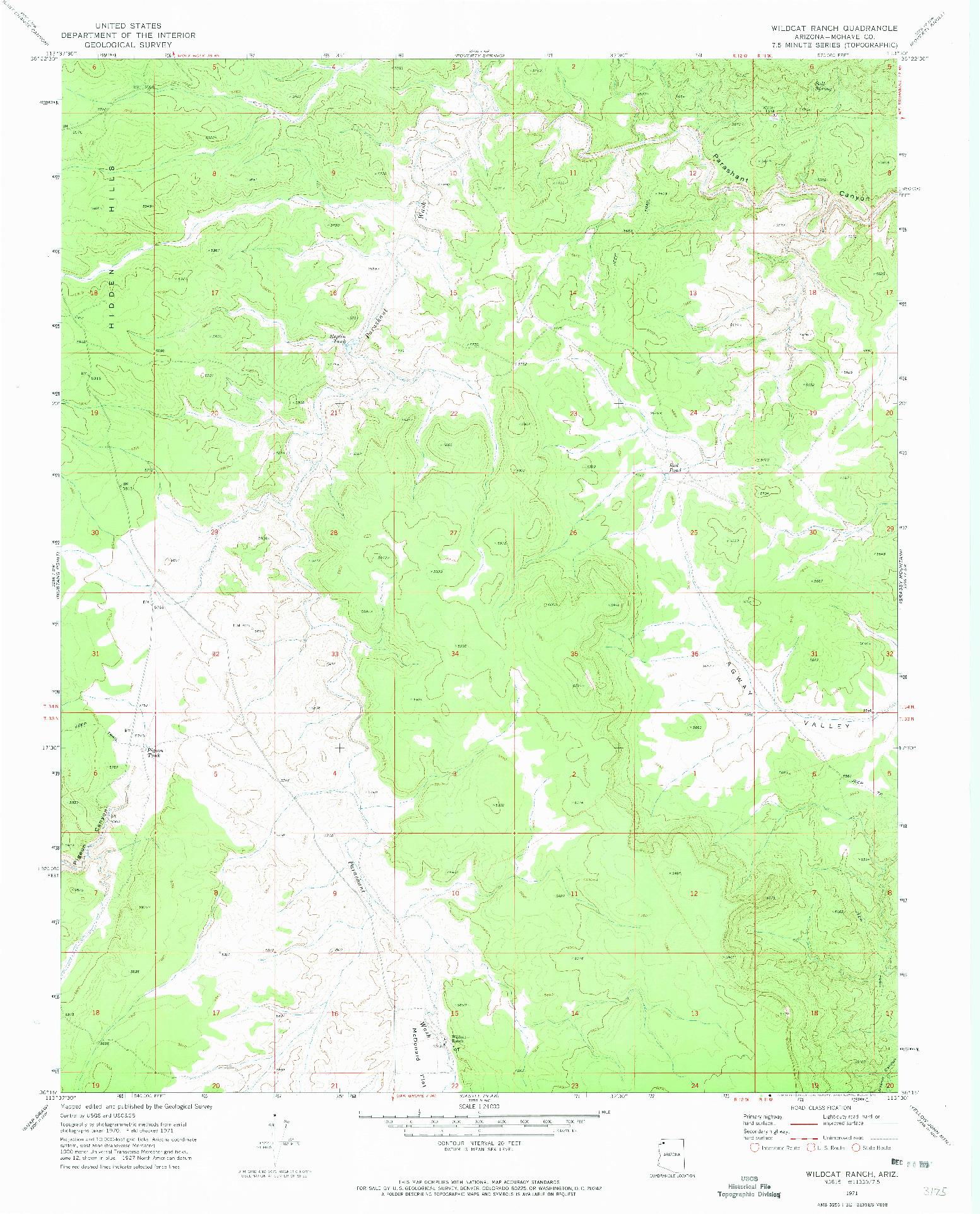 USGS 1:24000-SCALE QUADRANGLE FOR WILDCAT RANCH, AZ 1971