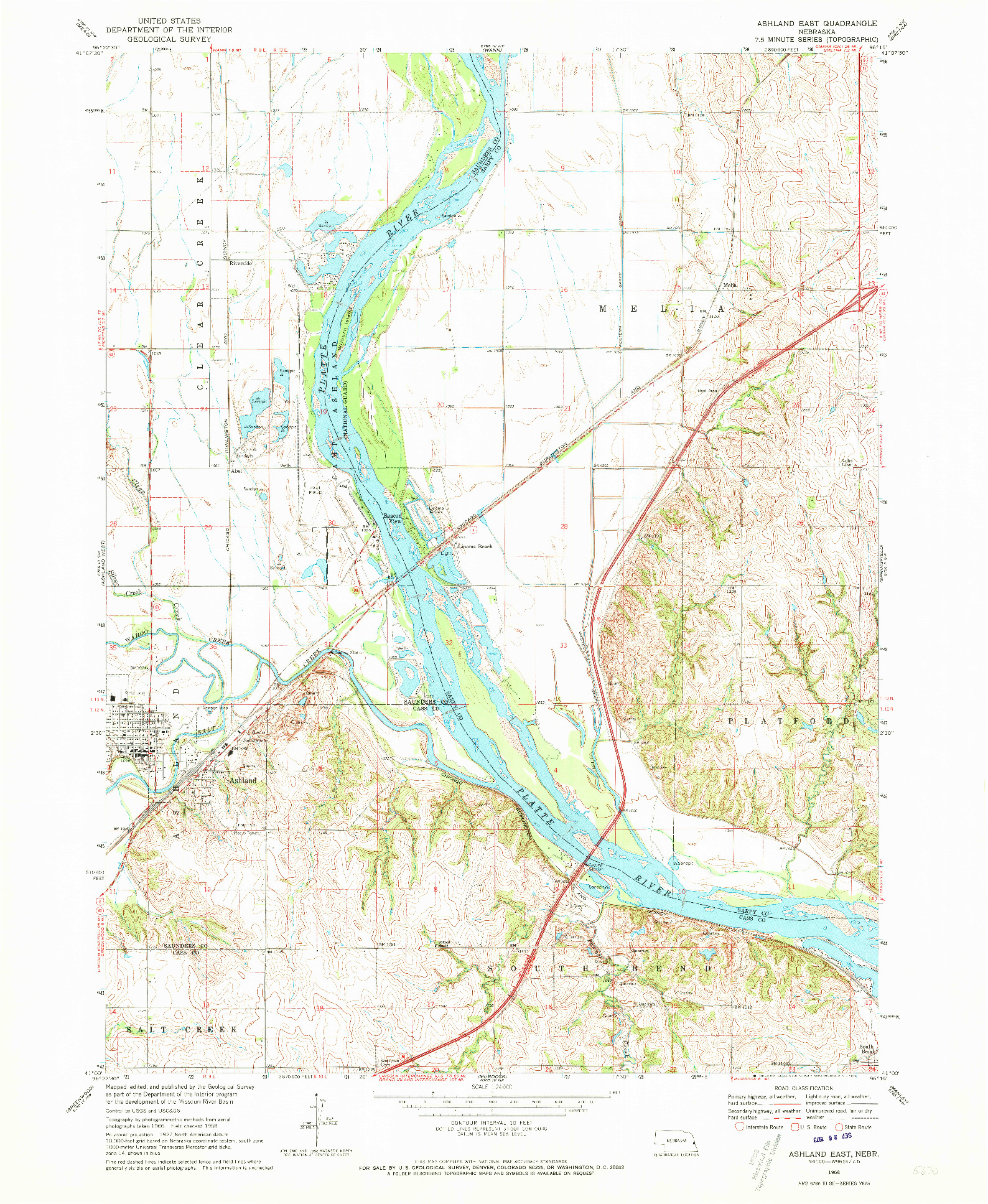 USGS 1:24000-SCALE QUADRANGLE FOR ASHLAND EAST, NE 1968