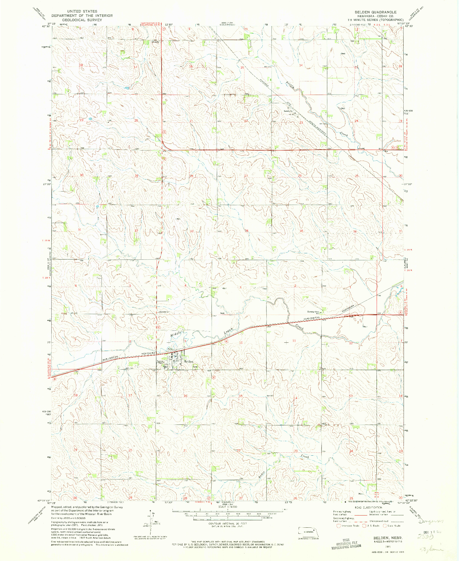 USGS 1:24000-SCALE QUADRANGLE FOR BELDEN, NE 1971