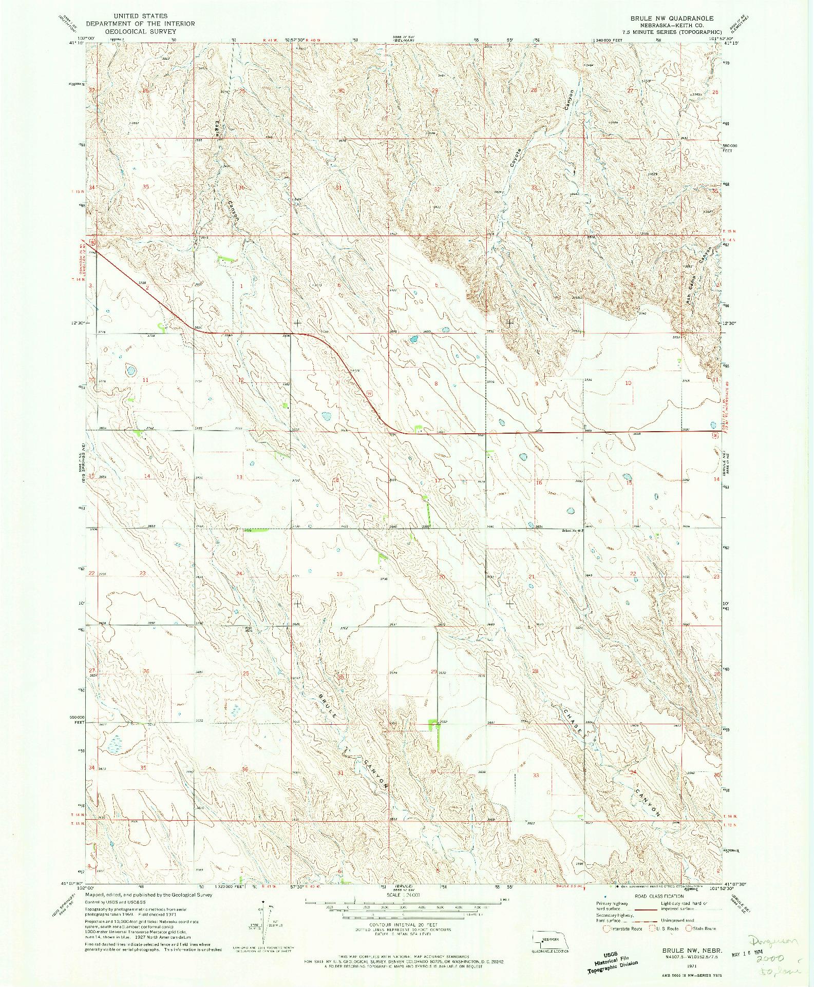 USGS 1:24000-SCALE QUADRANGLE FOR BRULE NW, NE 1971