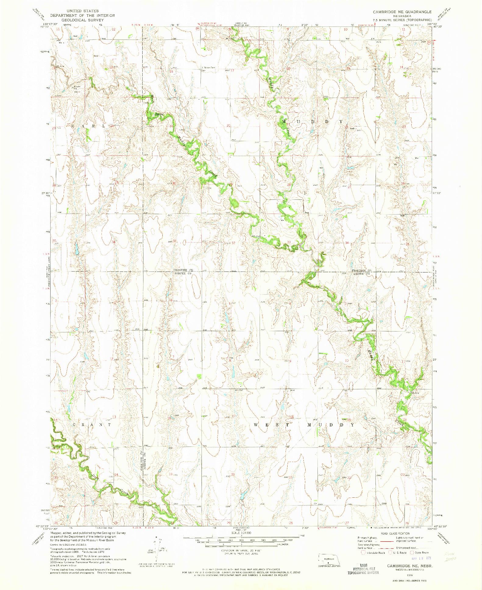 USGS 1:24000-SCALE QUADRANGLE FOR CAMBRIDGE NE, NE 1970