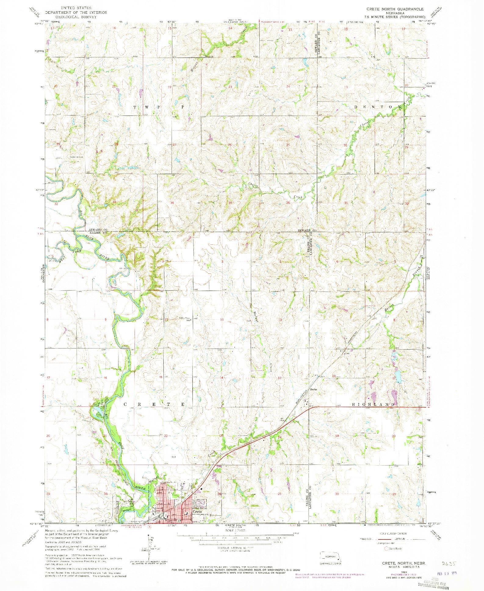 USGS 1:24000-SCALE QUADRANGLE FOR CRETE NORTH, NE 1964