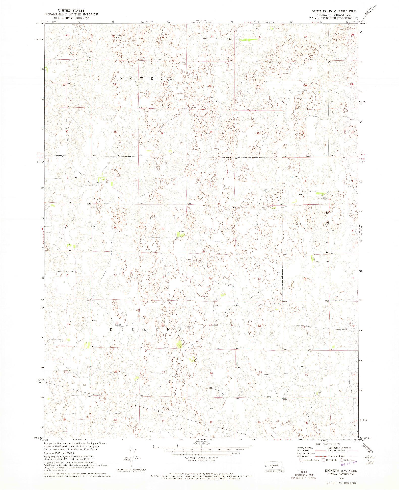 USGS 1:24000-SCALE QUADRANGLE FOR DICKENS NW, NE 1970