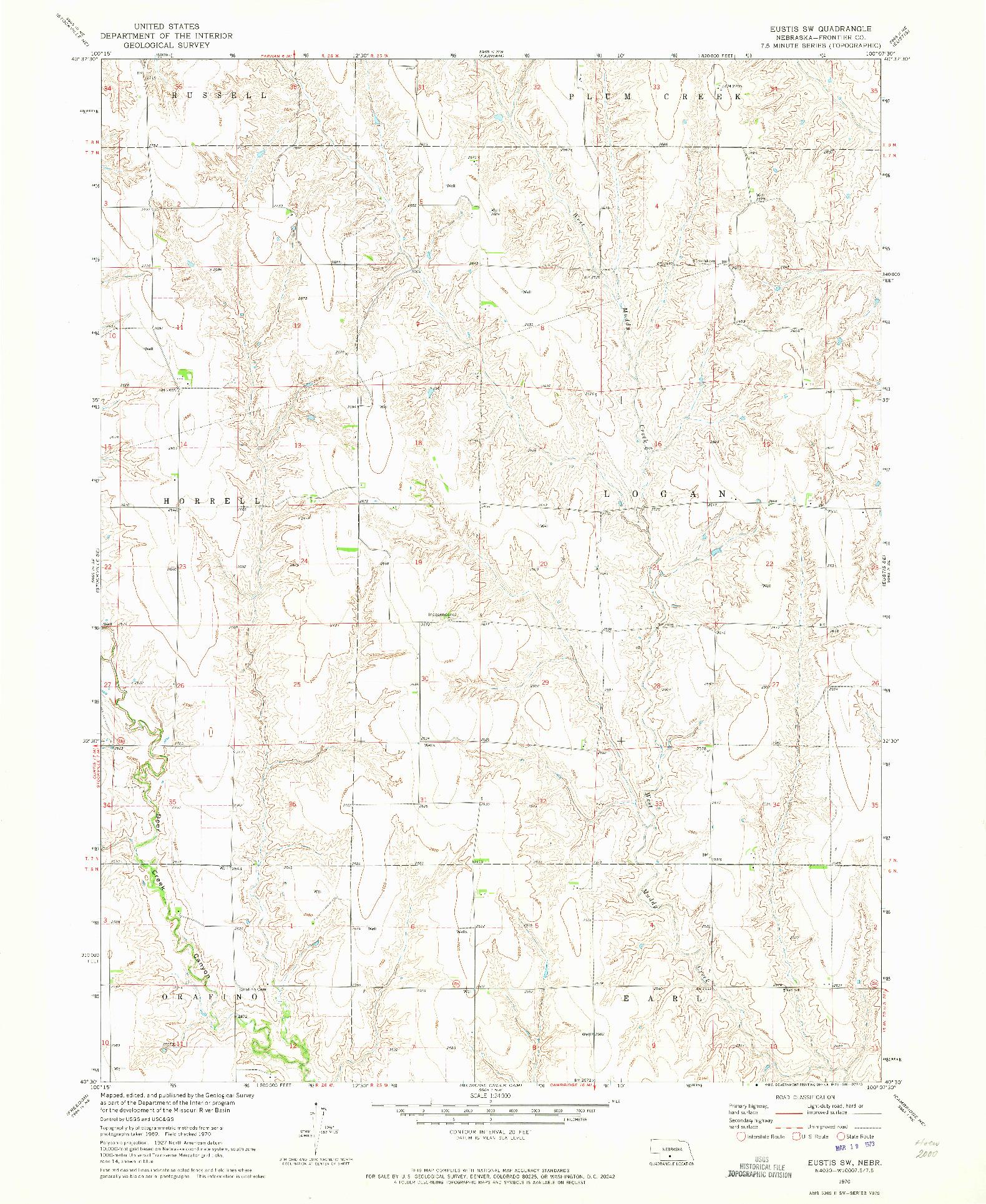 USGS 1:24000-SCALE QUADRANGLE FOR EUSTIS SW, NE 1970