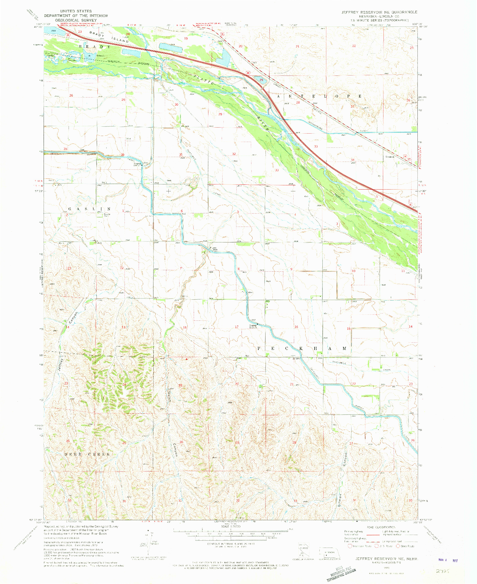 USGS 1:24000-SCALE QUADRANGLE FOR JEFFREY RESERVOIR NE, NE 1970