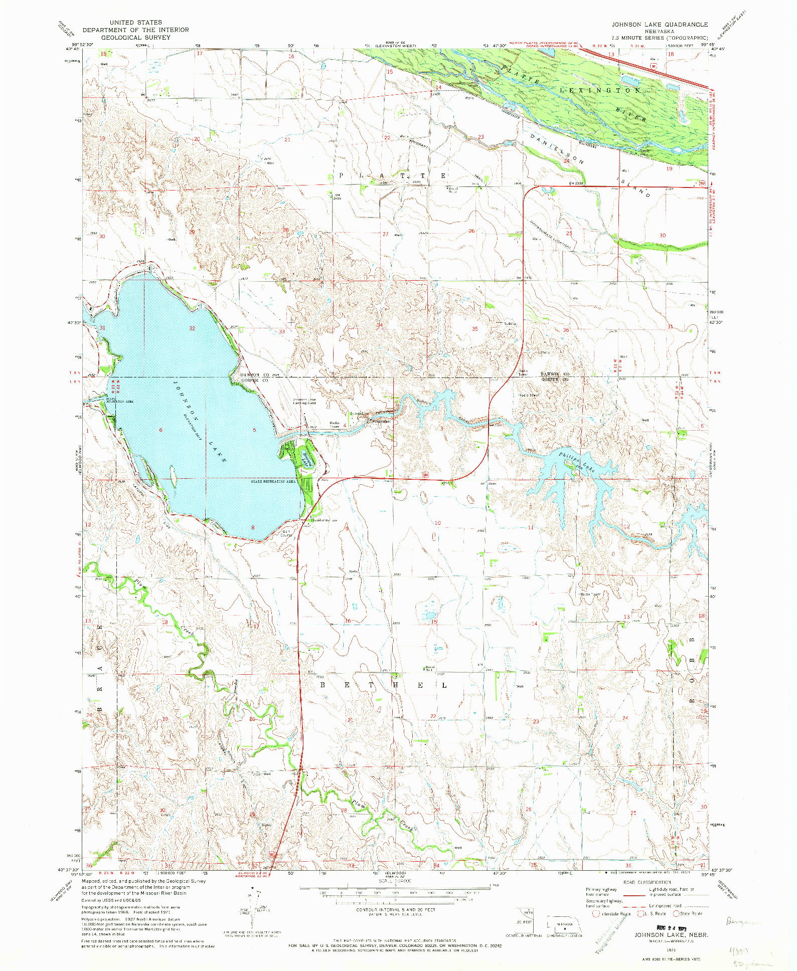 USGS 1:24000-SCALE QUADRANGLE FOR JOHNSON LAKE, NE 1971