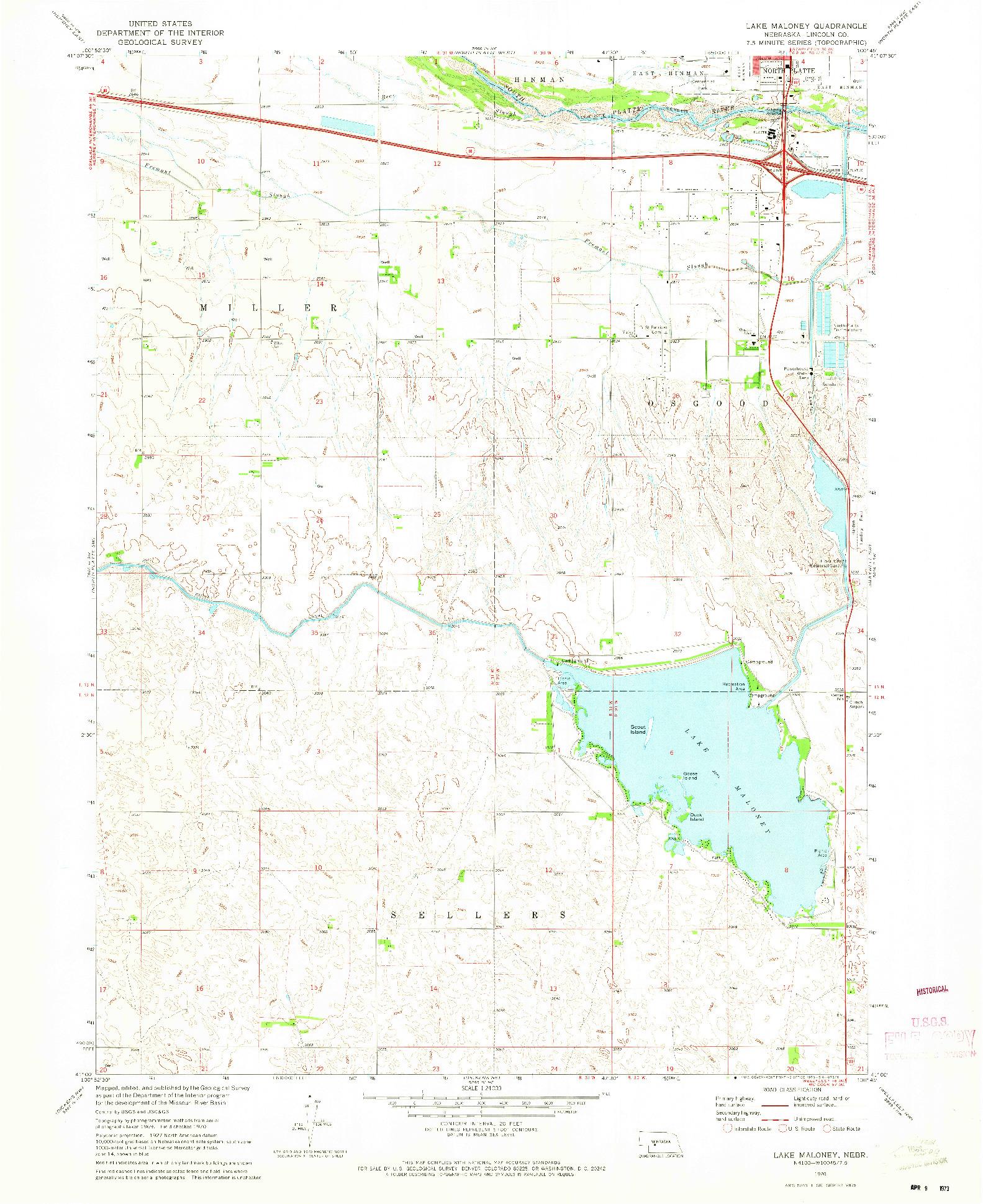 USGS 1:24000-SCALE QUADRANGLE FOR LAKE MALONEY, NE 1970