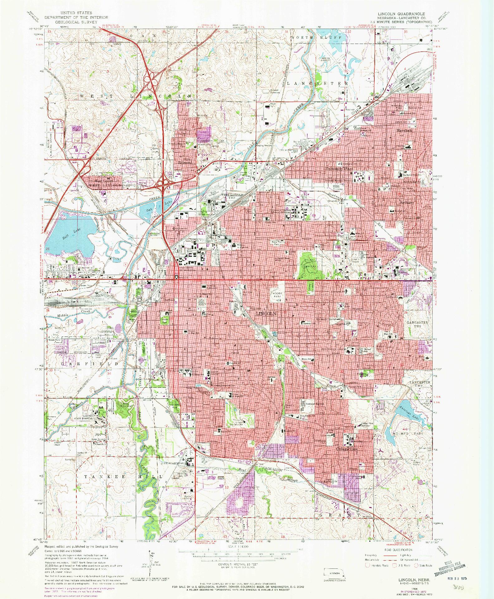 USGS 1:24000-SCALE QUADRANGLE FOR LINCOLN, NE 1964