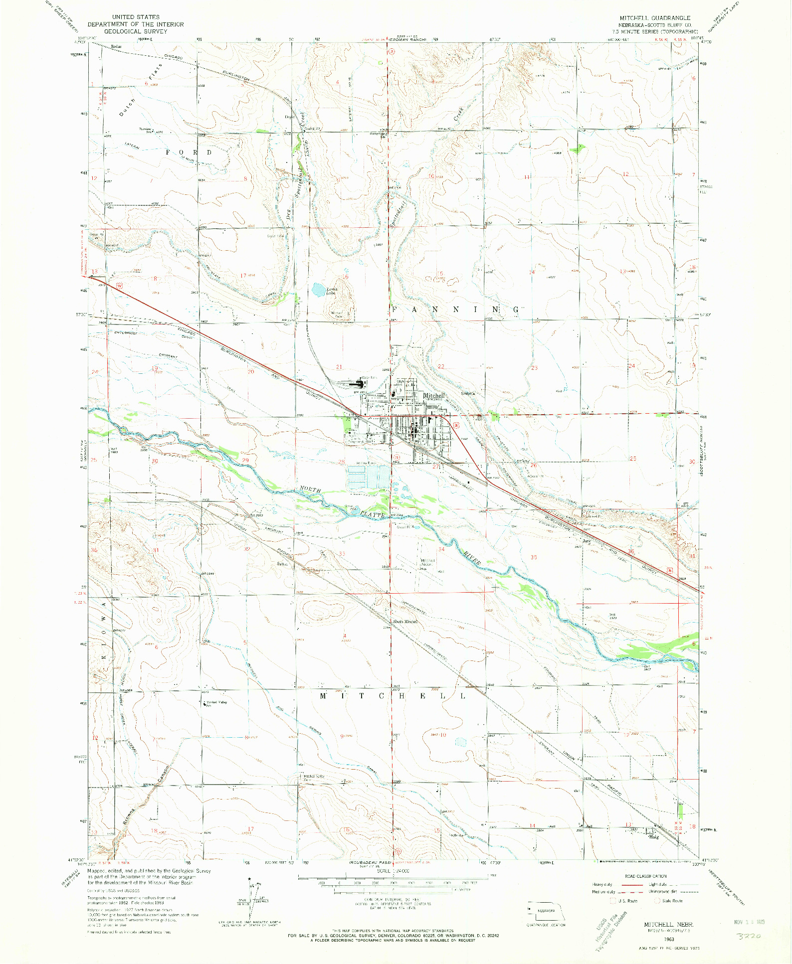 USGS 1:24000-SCALE QUADRANGLE FOR MITCHELL, NE 1963