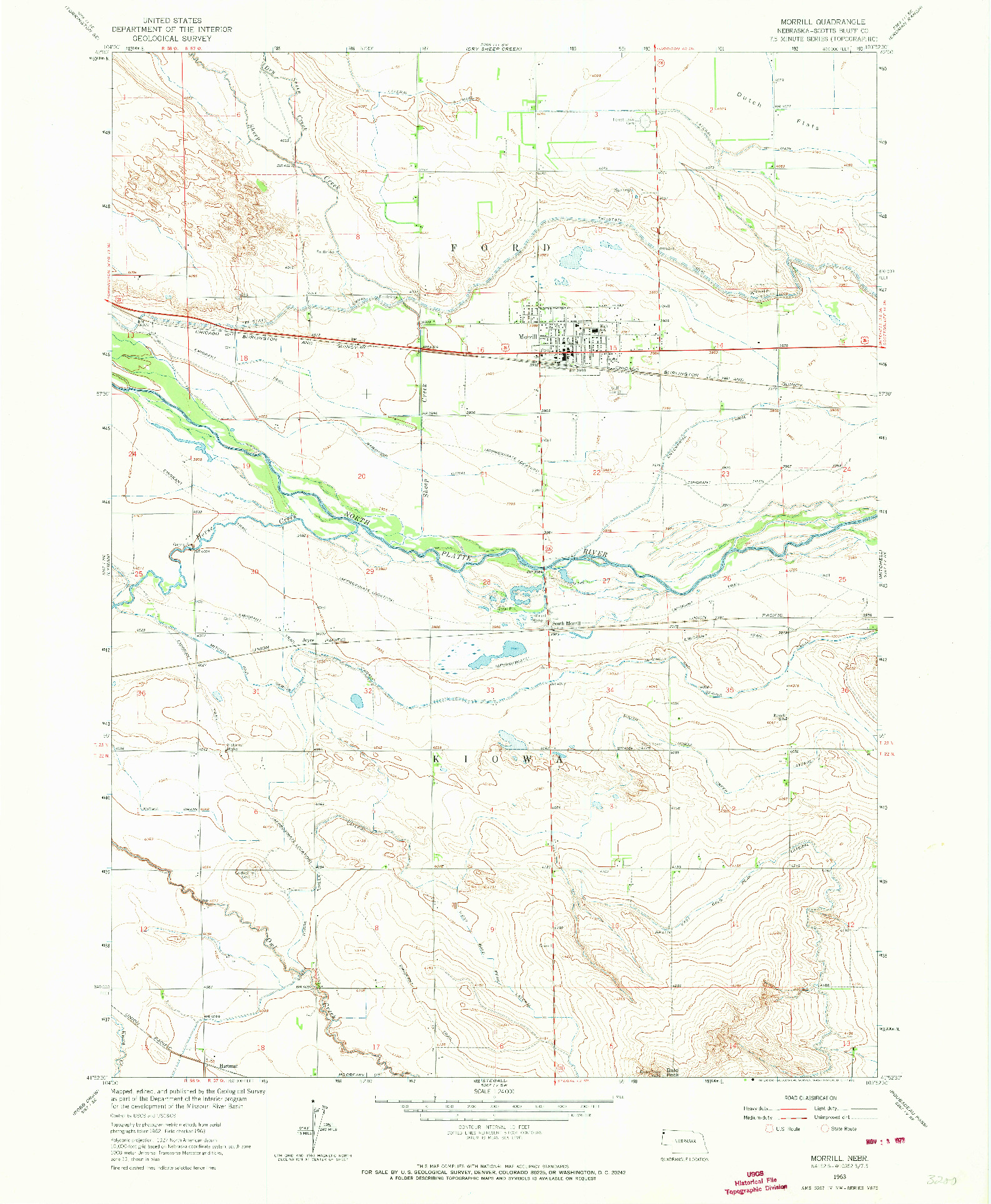 USGS 1:24000-SCALE QUADRANGLE FOR MORRILL, NE 1963