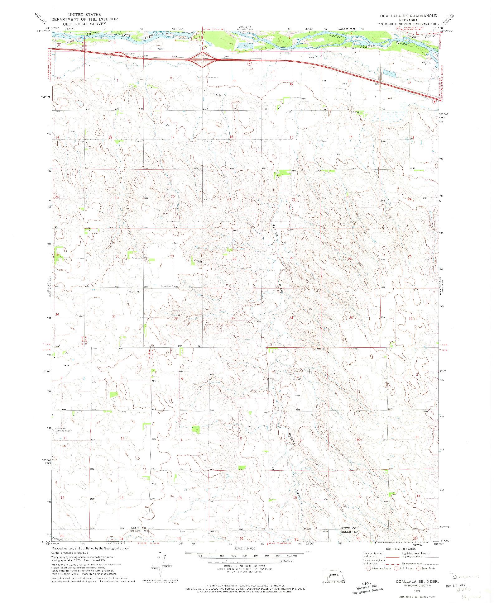 USGS 1:24000-SCALE QUADRANGLE FOR OGALLALA SE, NE 1971