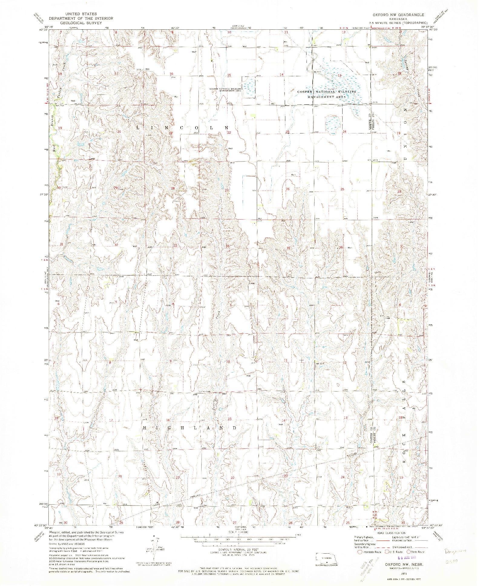 USGS 1:24000-SCALE QUADRANGLE FOR OXFORD NW, NE 1971