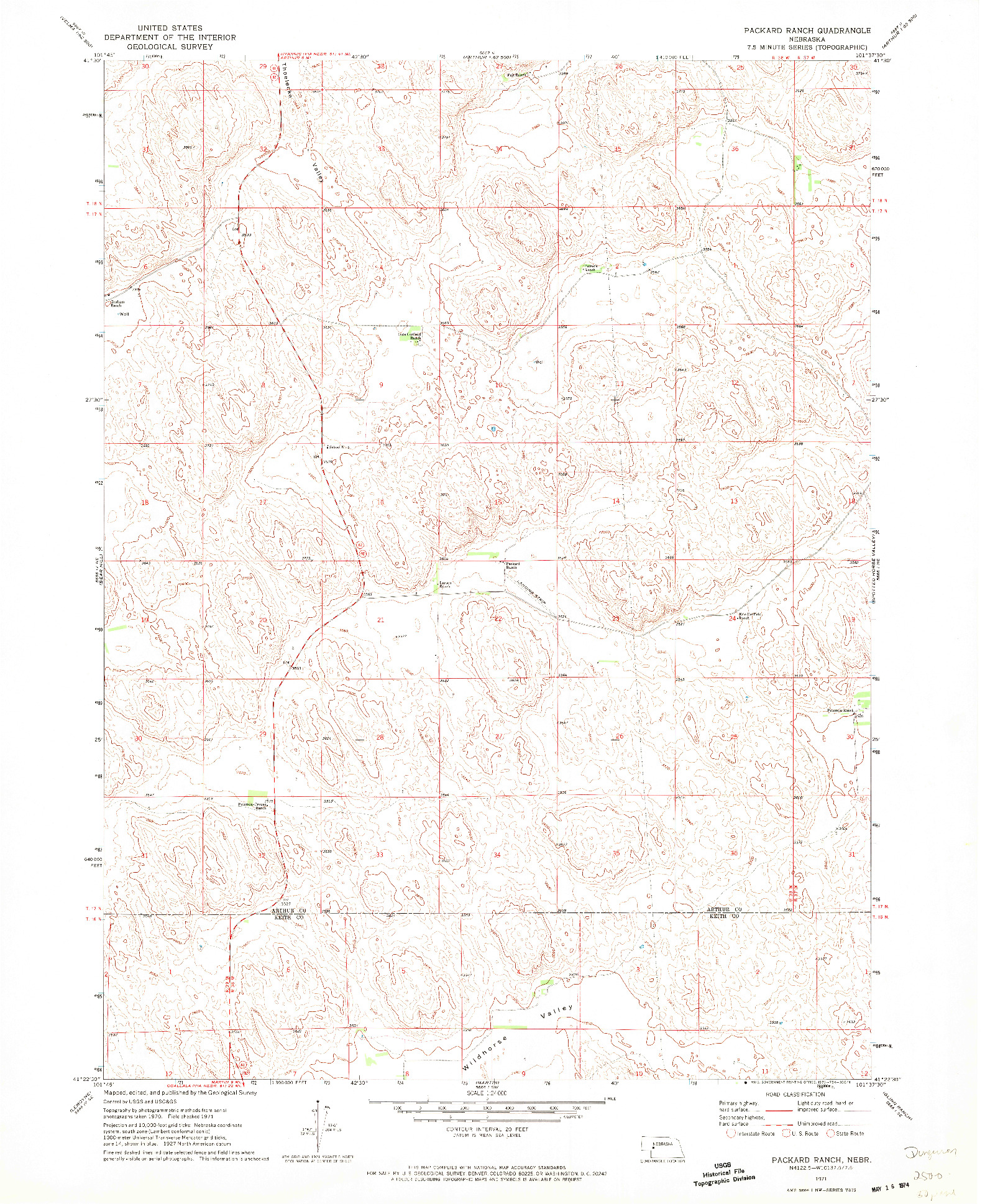 USGS 1:24000-SCALE QUADRANGLE FOR PACKARD RANCH, NE 1971