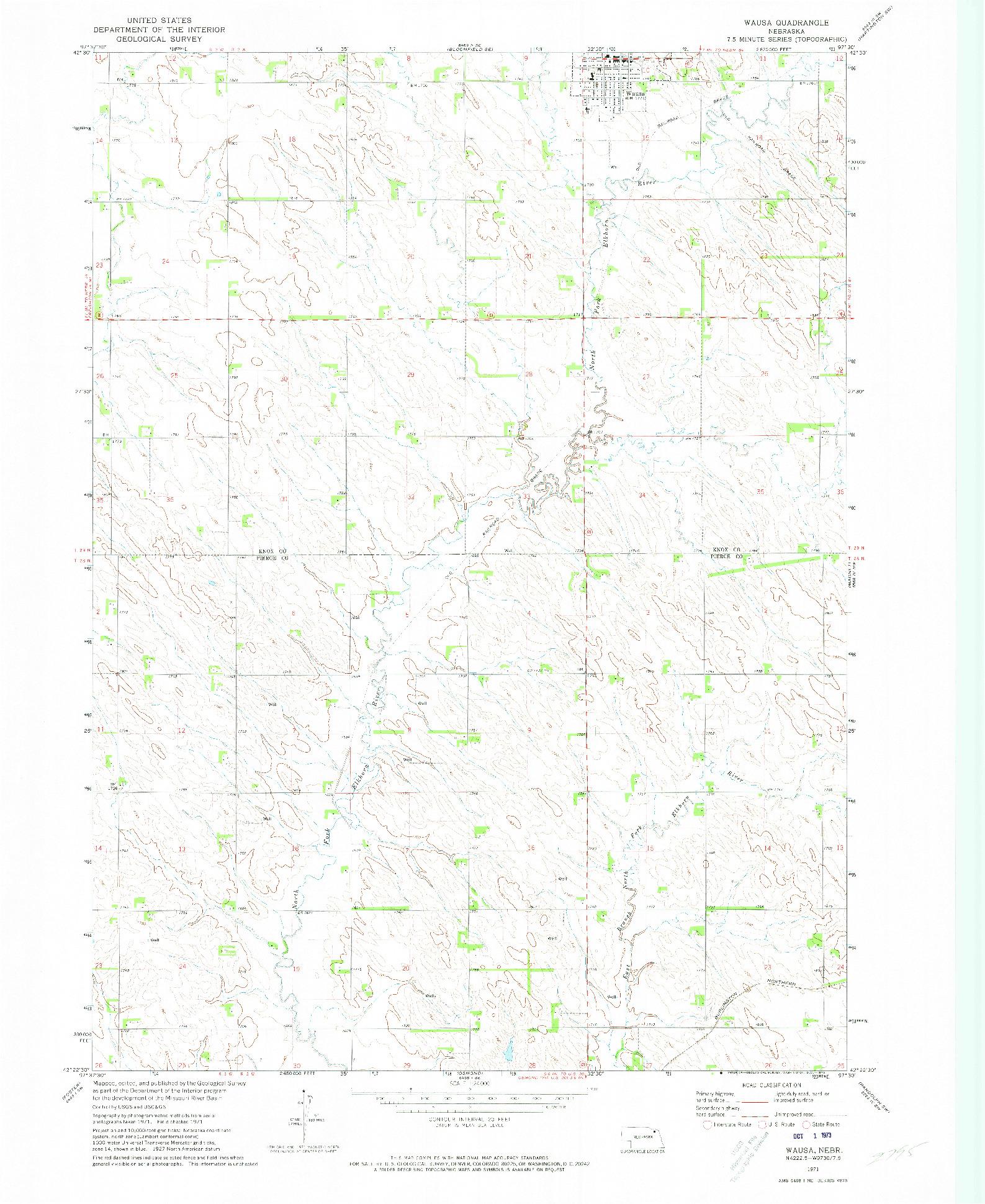 USGS 1:24000-SCALE QUADRANGLE FOR WAUSA, NE 1971