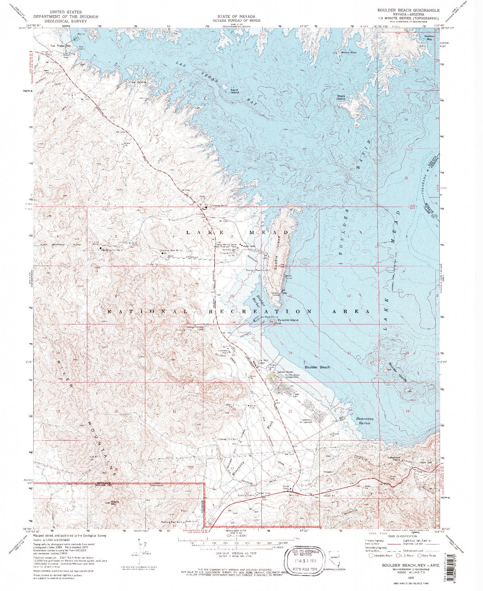 USGS 1:24000-SCALE QUADRANGLE FOR BOULDER BEACH, NV 1970
