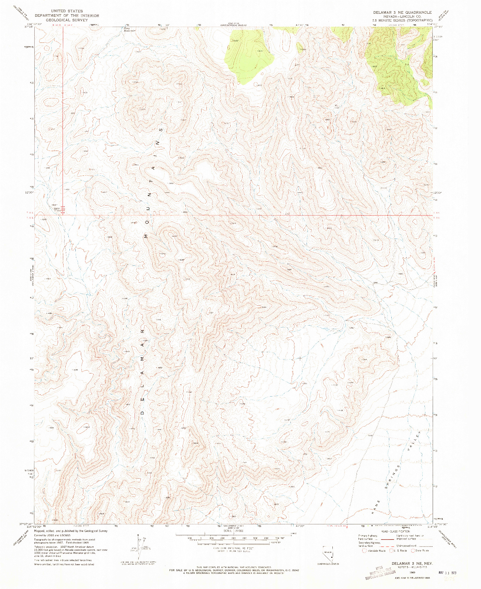 USGS 1:24000-SCALE QUADRANGLE FOR DELAMAR 3 NE, NV 1969