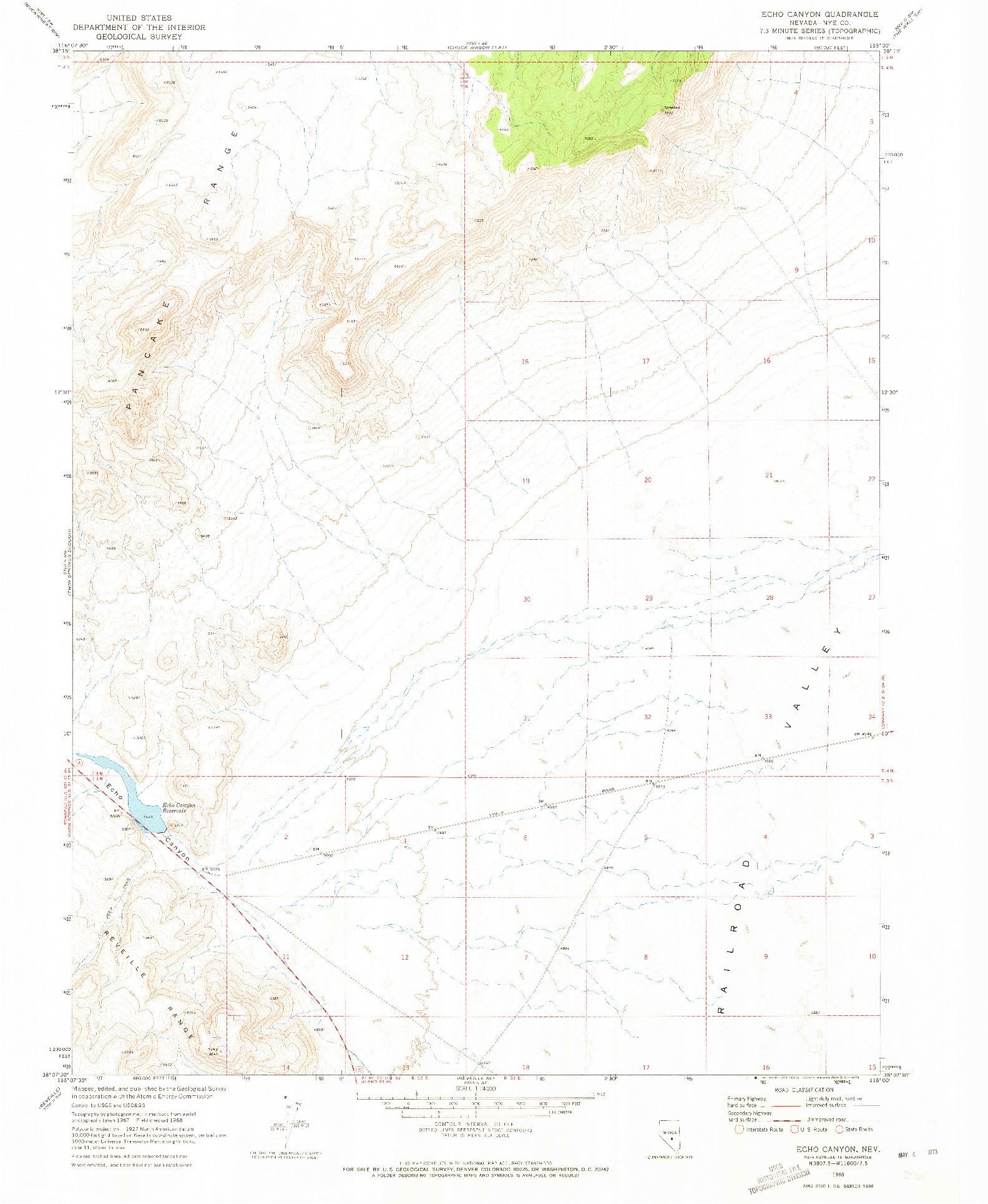 USGS 1:24000-SCALE QUADRANGLE FOR ECHO CANYON, NV 1968