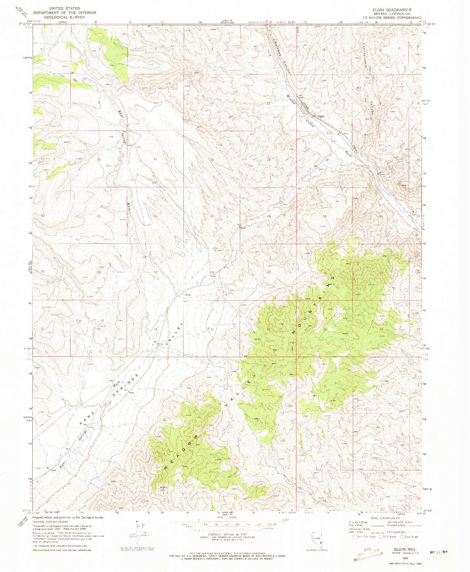 USGS 1:24000-SCALE QUADRANGLE FOR ELGIN, NV 1969