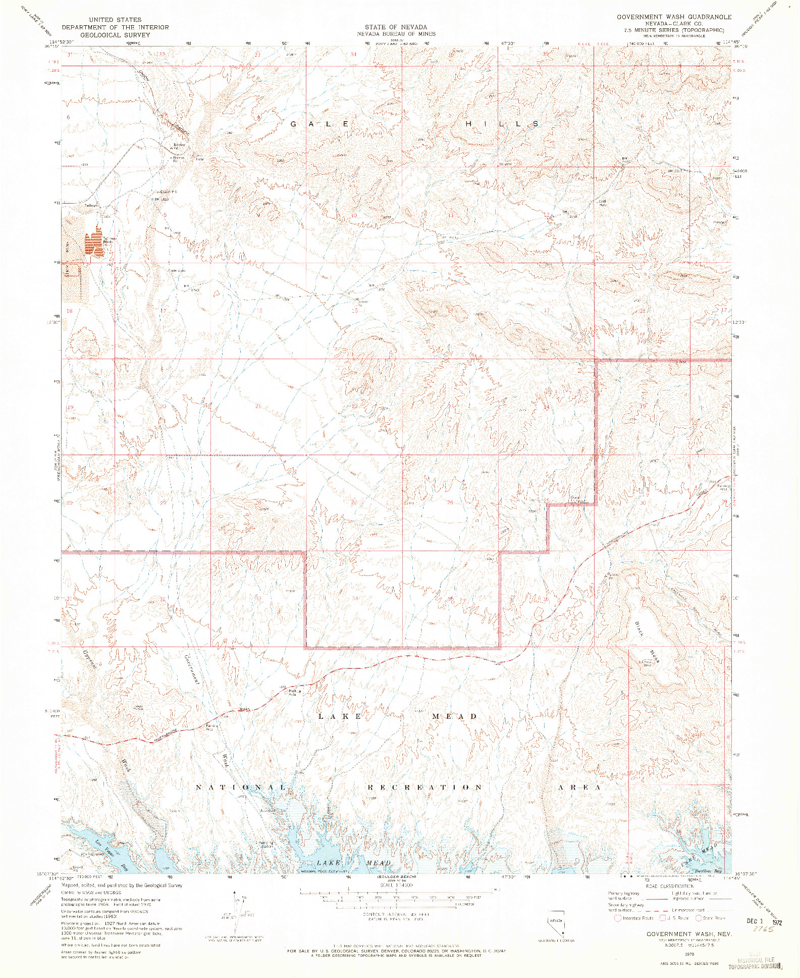 USGS 1:24000-SCALE QUADRANGLE FOR GOVERNMENT WASH, NV 1970