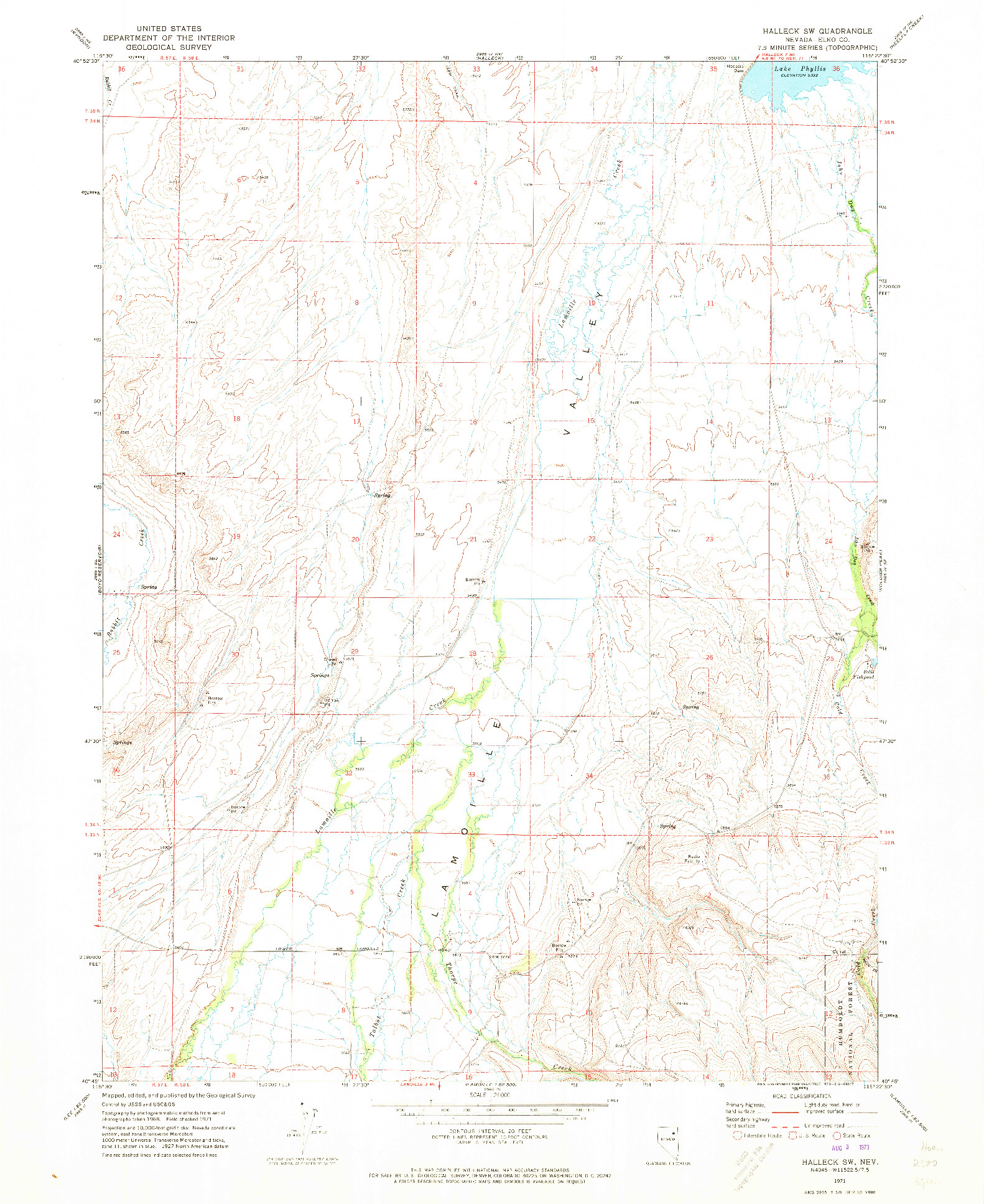 USGS 1:24000-SCALE QUADRANGLE FOR HALLECK SW, NV 1971
