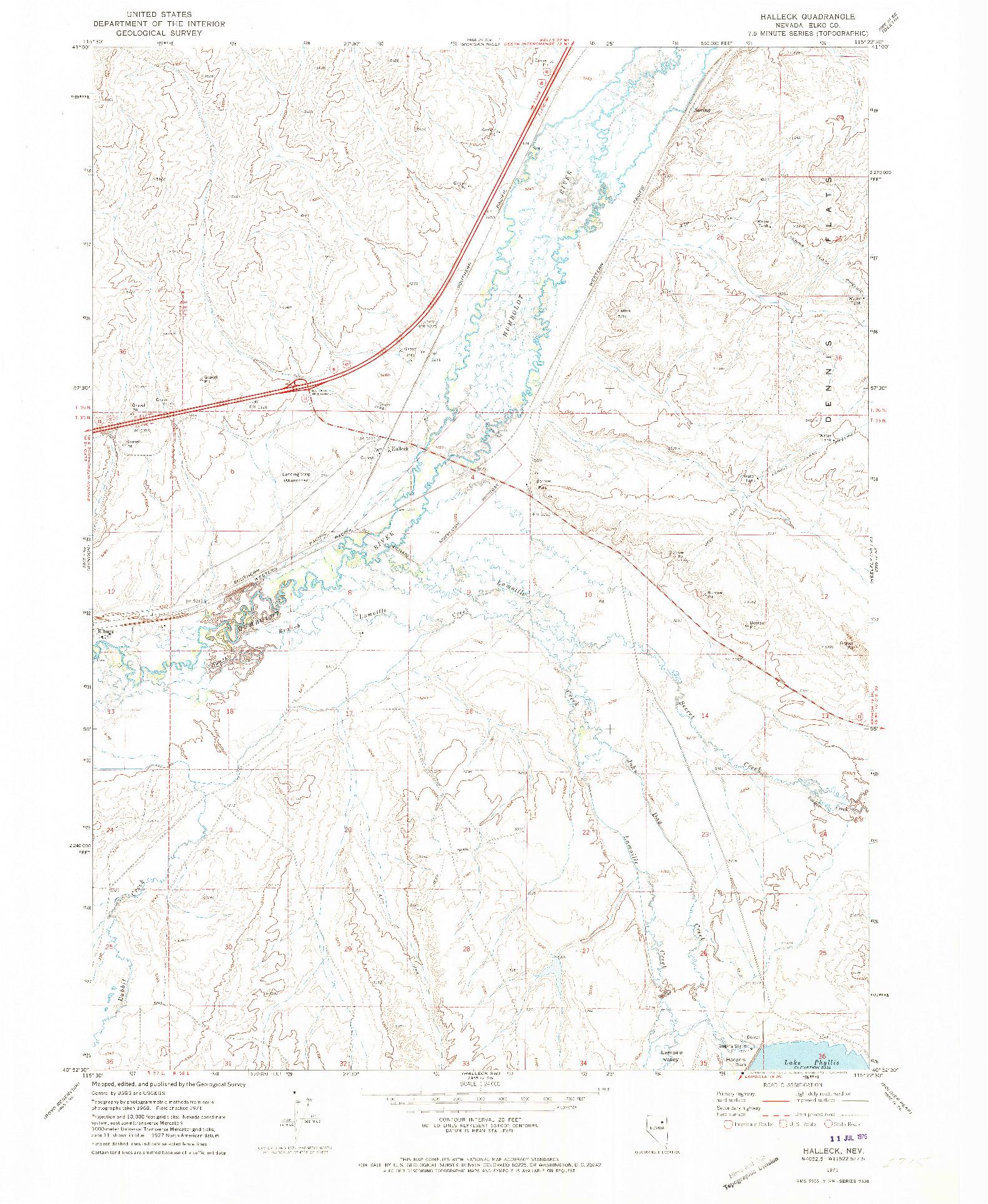 USGS 1:24000-SCALE QUADRANGLE FOR HALLECK, NV 1971