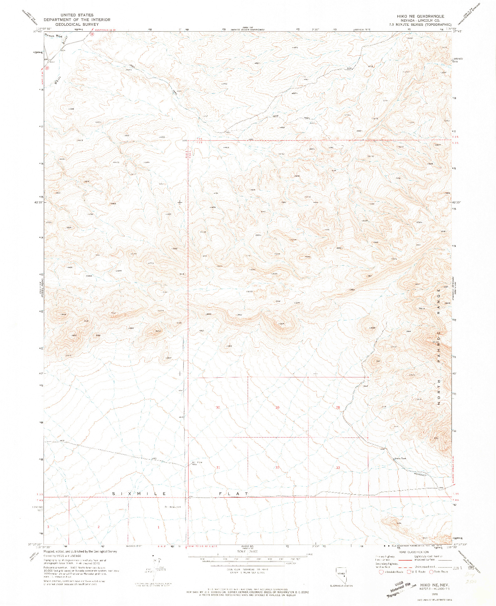 USGS 1:24000-SCALE QUADRANGLE FOR HIKO NE, NV 1970