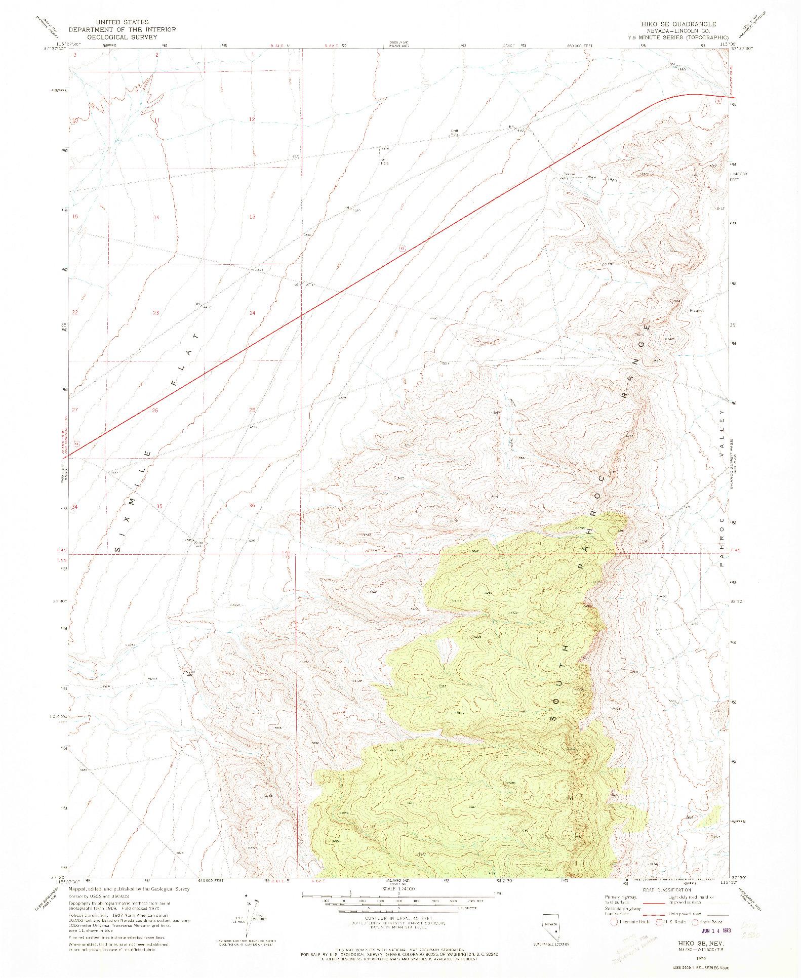 USGS 1:24000-SCALE QUADRANGLE FOR HIKO SE, NV 1970