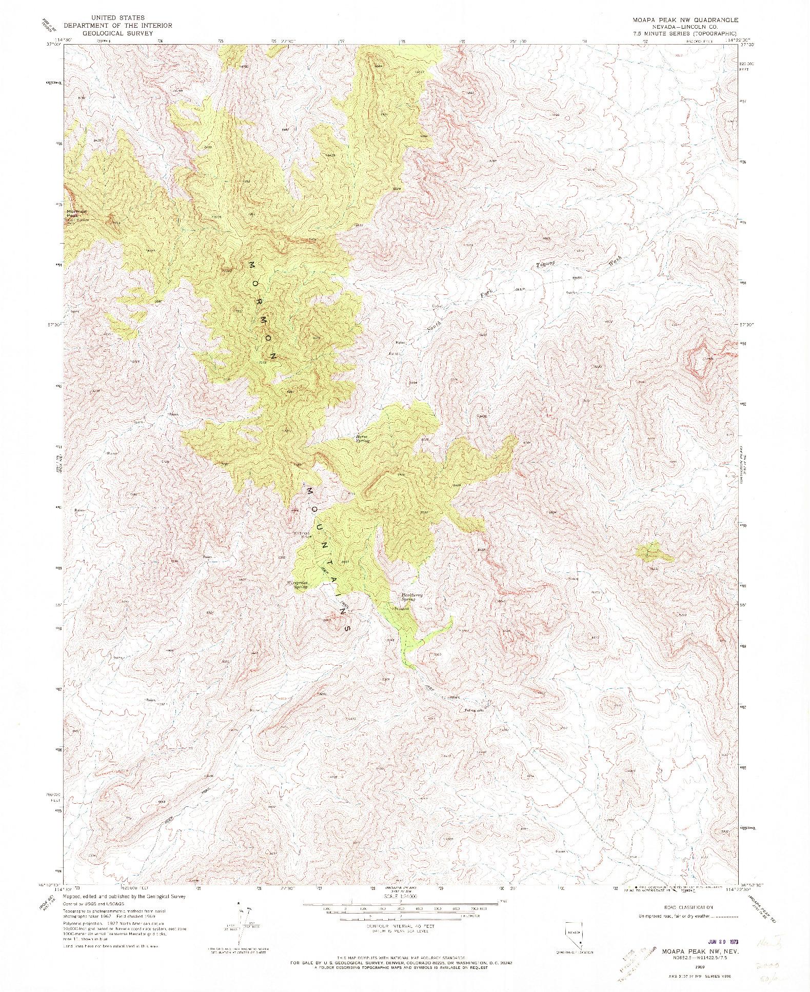 USGS 1:24000-SCALE QUADRANGLE FOR MOAPA PEAK NW, NV 1969