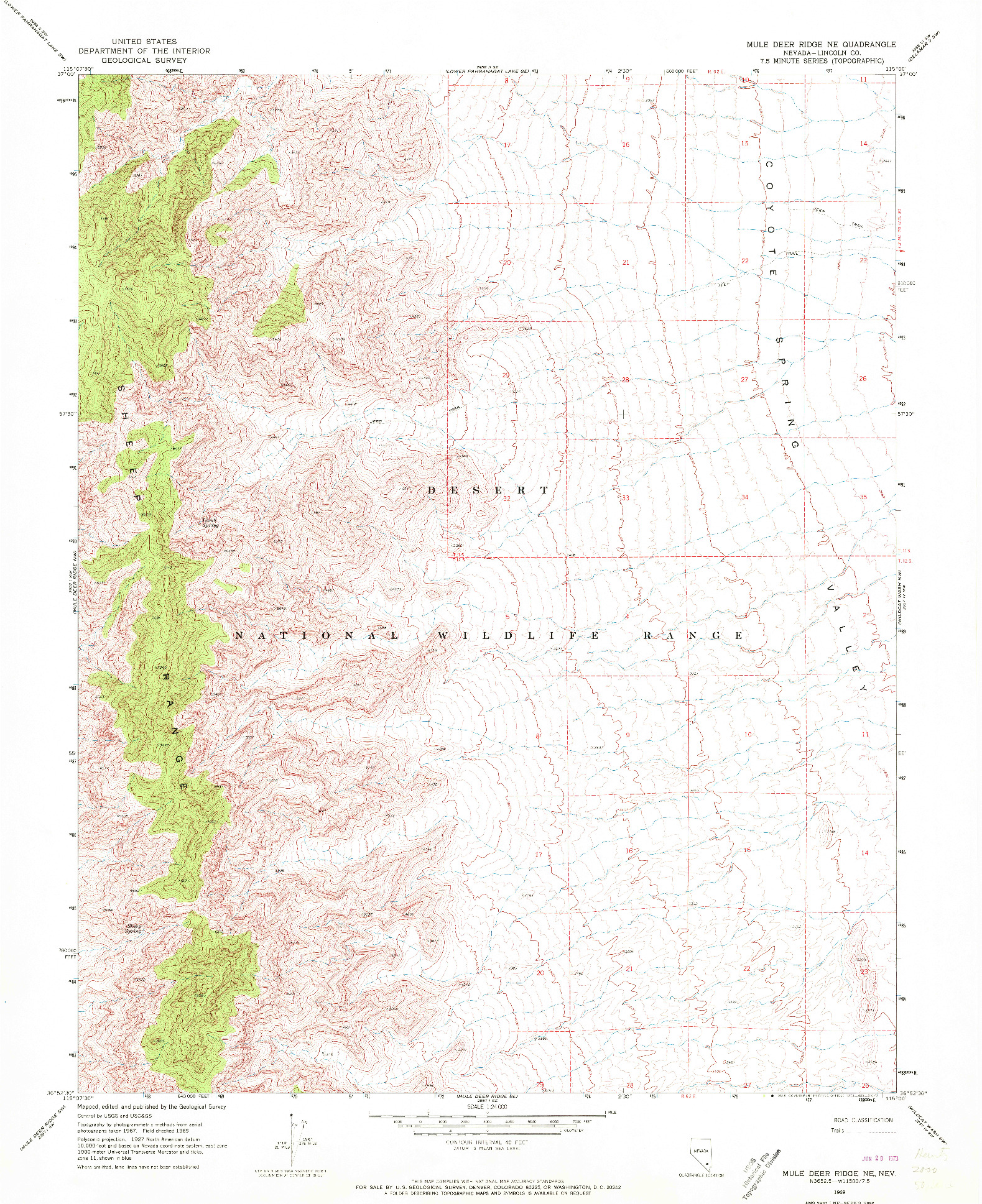 USGS 1:24000-SCALE QUADRANGLE FOR MULE DEER RIDGE NE, NV 1969