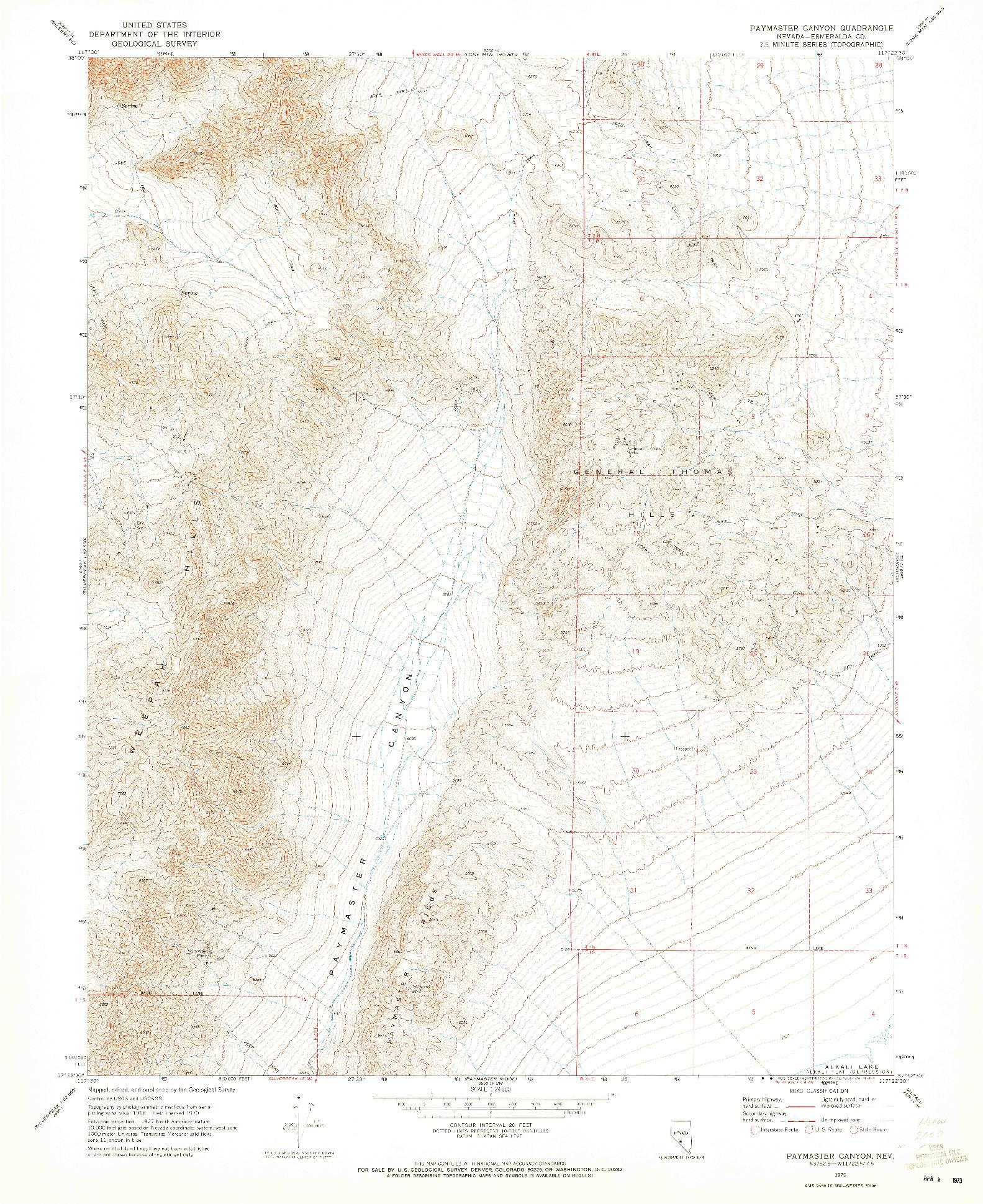USGS 1:24000-SCALE QUADRANGLE FOR PAYMASTER CANYON, NV 1970