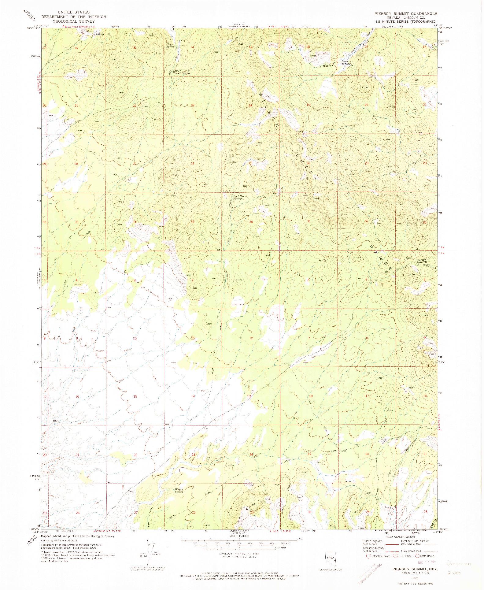 USGS 1:24000-SCALE QUADRANGLE FOR PIERSON SUMMIT, NV 1970