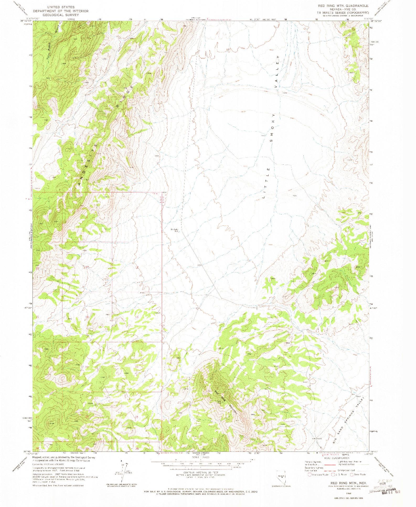 USGS 1:24000-SCALE QUADRANGLE FOR RED RING MTN, NV 1968