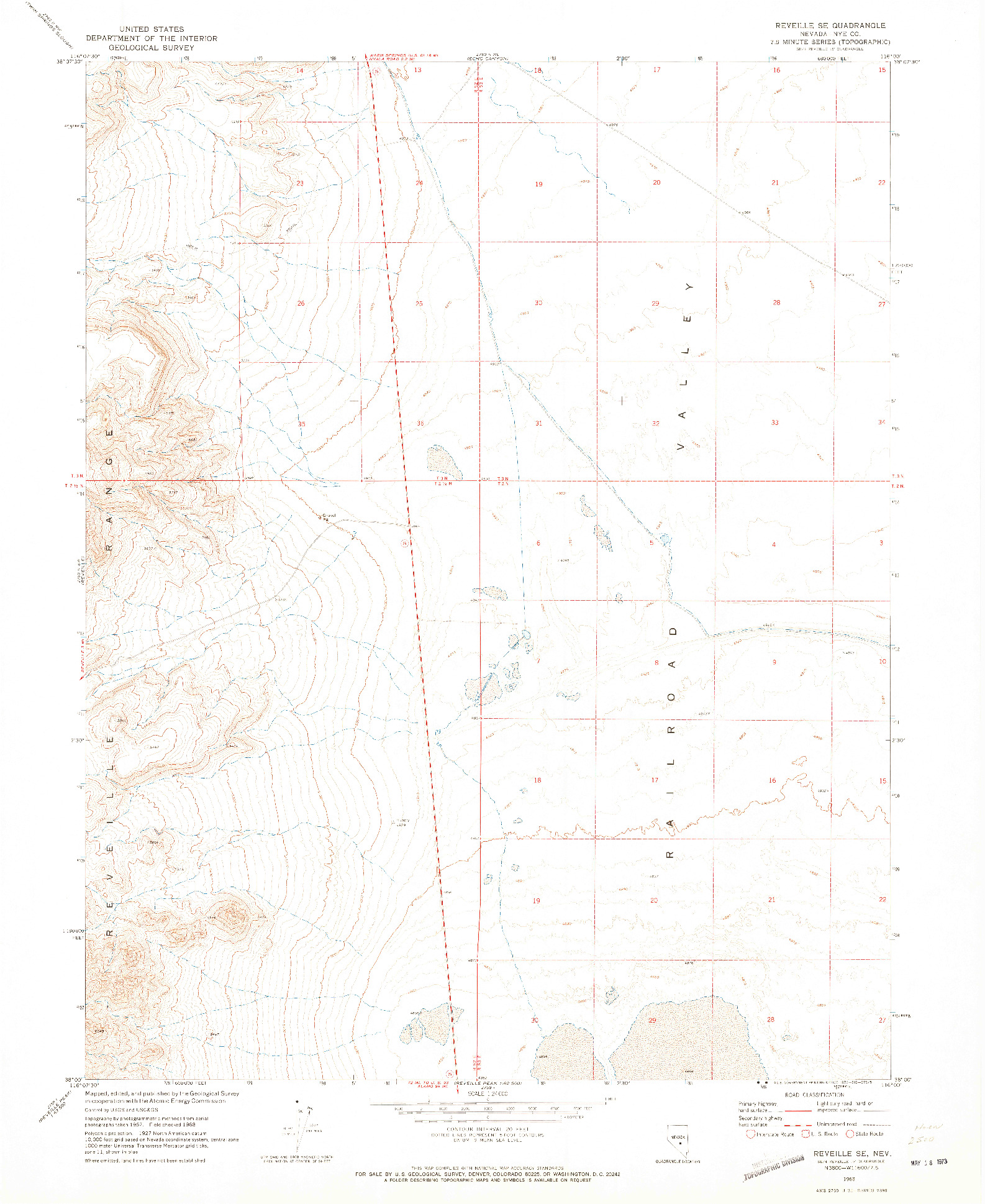 USGS 1:24000-SCALE QUADRANGLE FOR REVEILLE SE, NV 1968