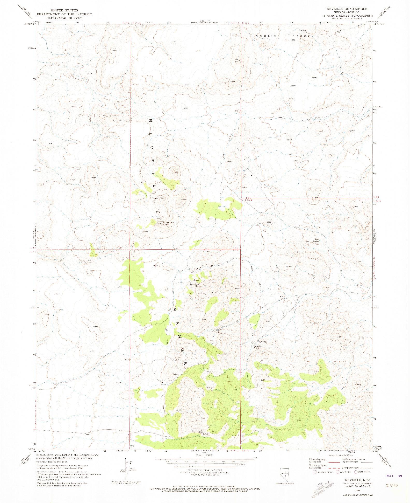 USGS 1:24000-SCALE QUADRANGLE FOR REVEILLE, NV 1968