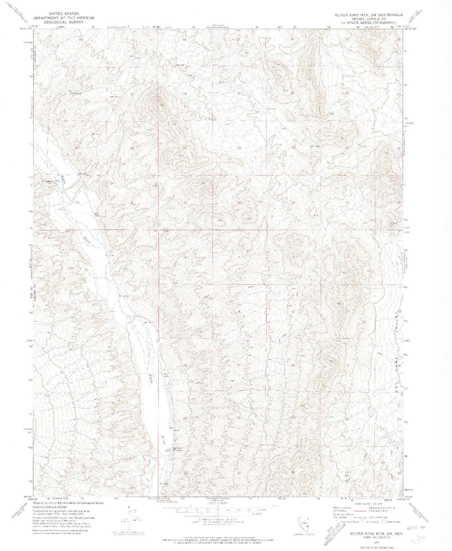 USGS 1:24000-SCALE QUADRANGLE FOR SILVER KING MTN SW, NV 1971