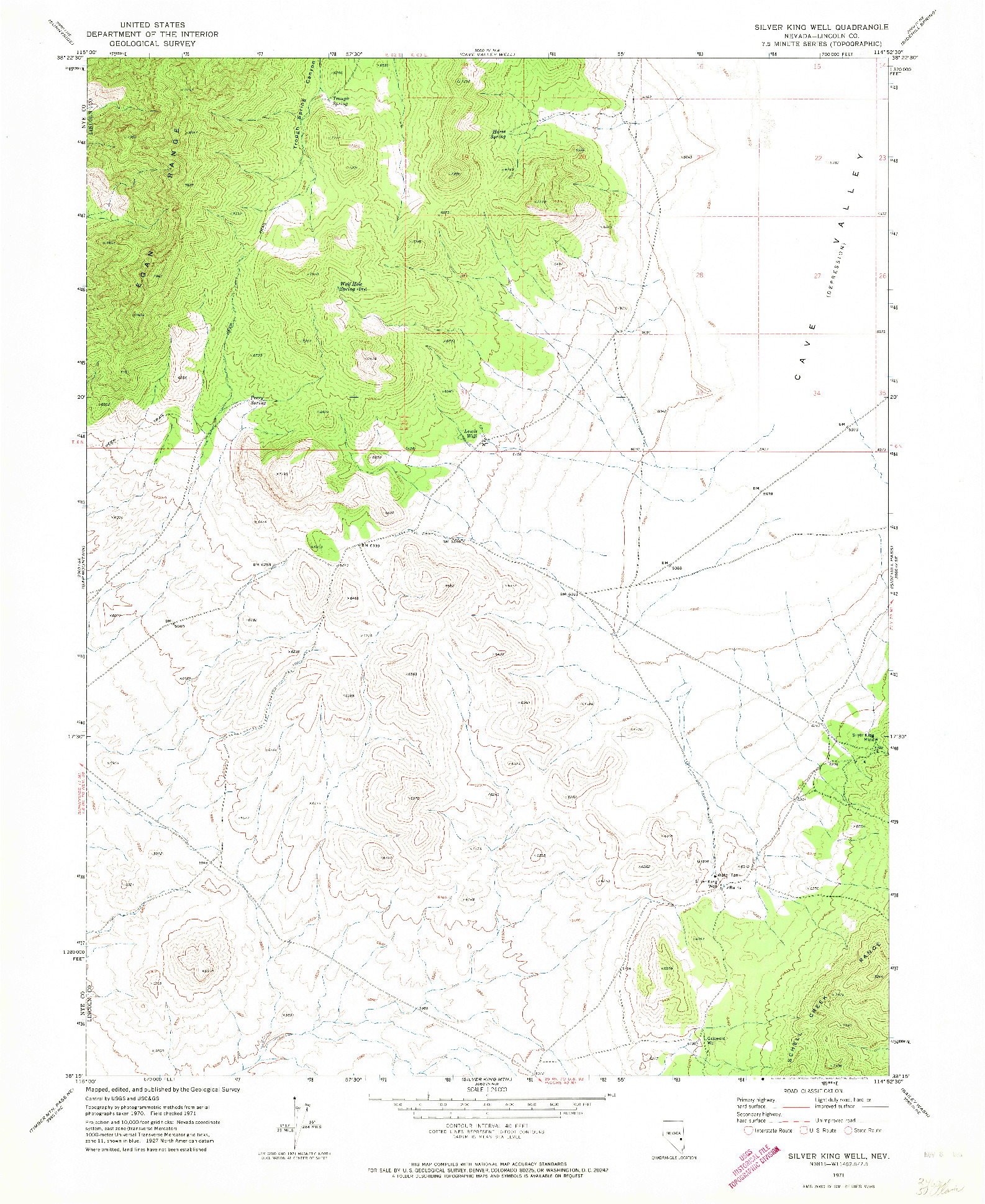 USGS 1:24000-SCALE QUADRANGLE FOR SILVER KING WELL, NV 1971