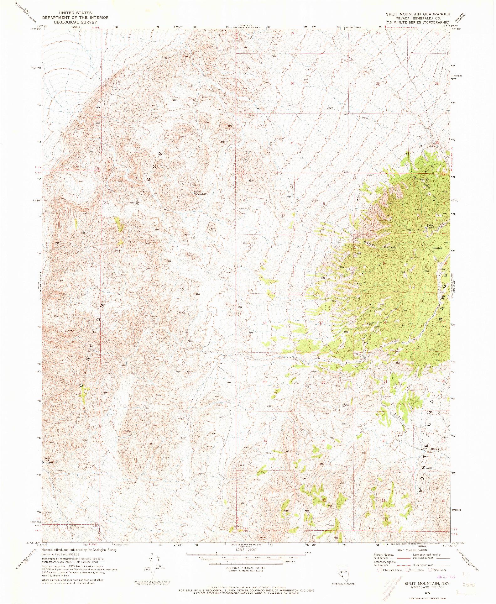 USGS 1:24000-SCALE QUADRANGLE FOR SPLIT MOUNTAIN, NV 1970