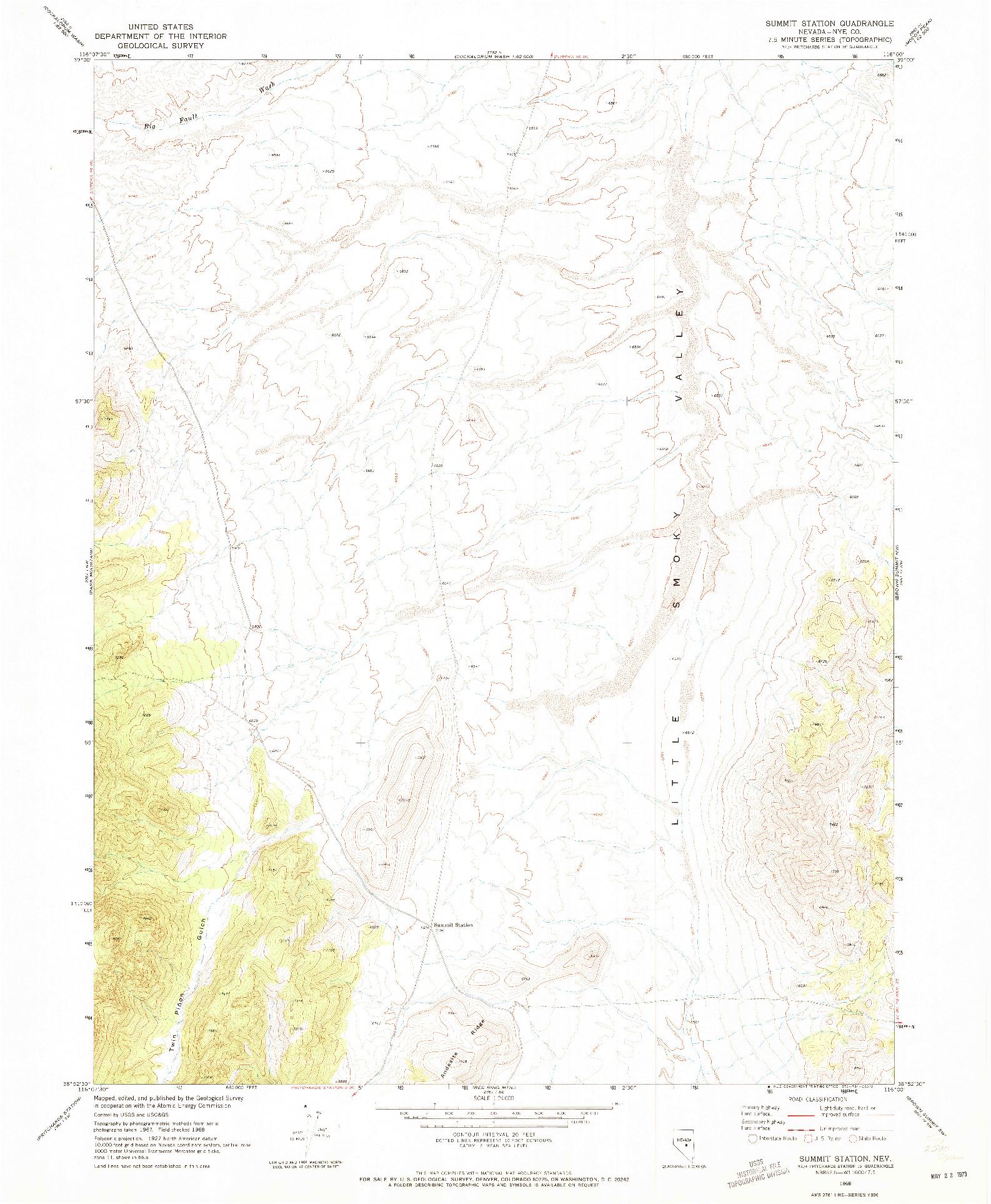 USGS 1:24000-SCALE QUADRANGLE FOR SUMMIT STATION, NV 1968