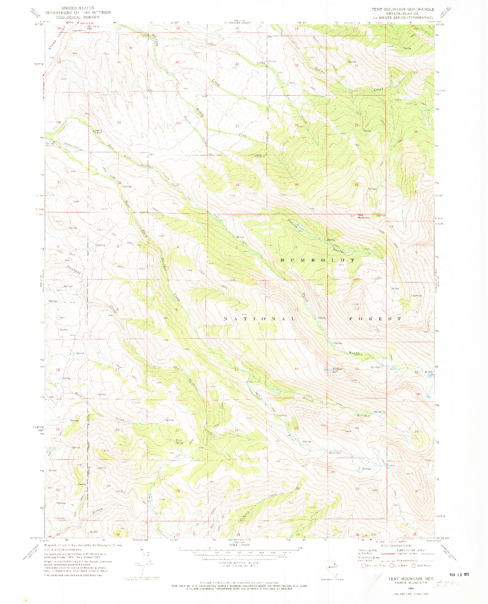 USGS 1:24000-SCALE QUADRANGLE FOR TENT MOUNTAIN, NV 1969